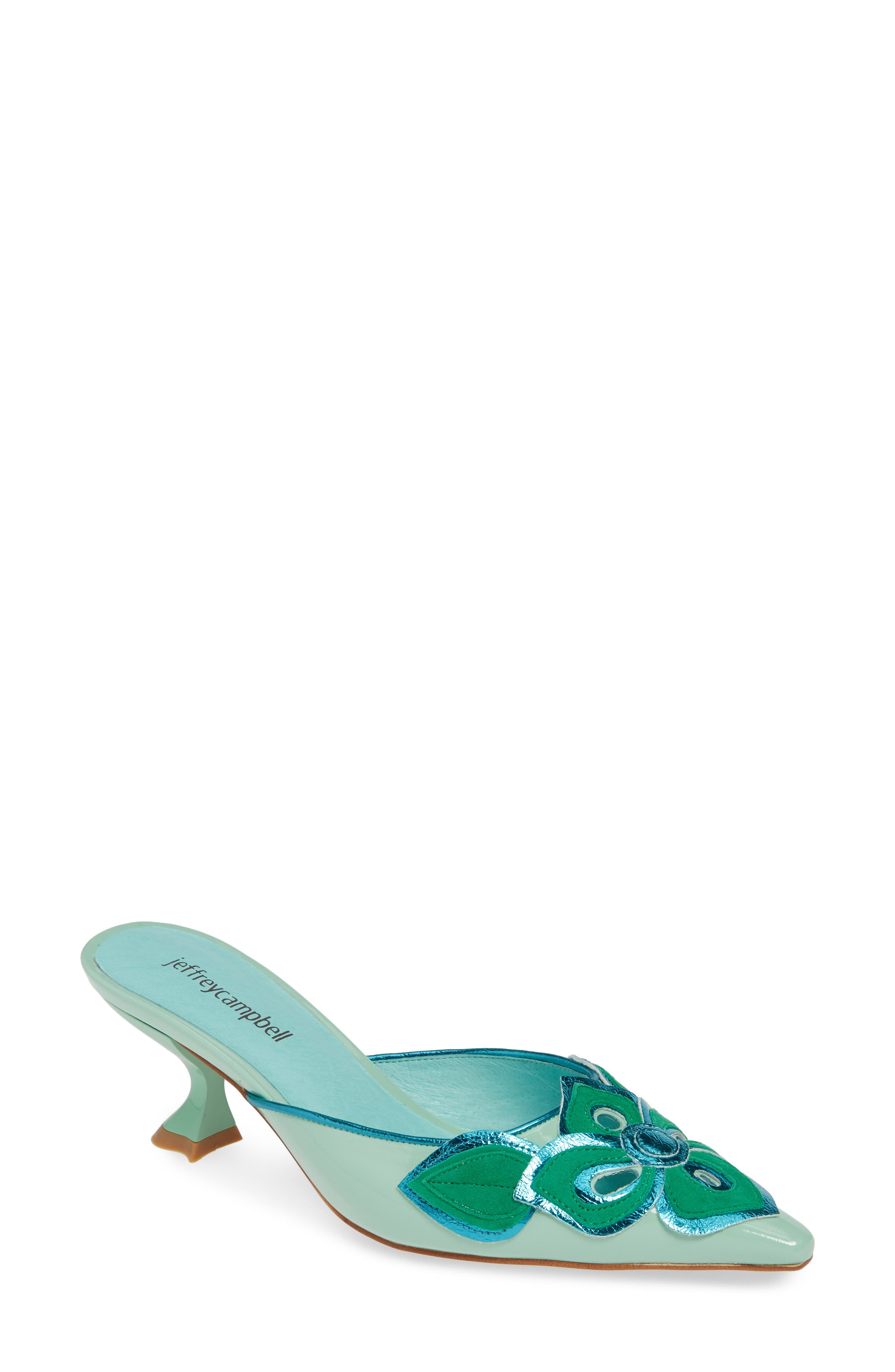 JEFFREY CAMPBELL Limon Mule, Main, color, GREEN PATENT LEATHER COMBO
