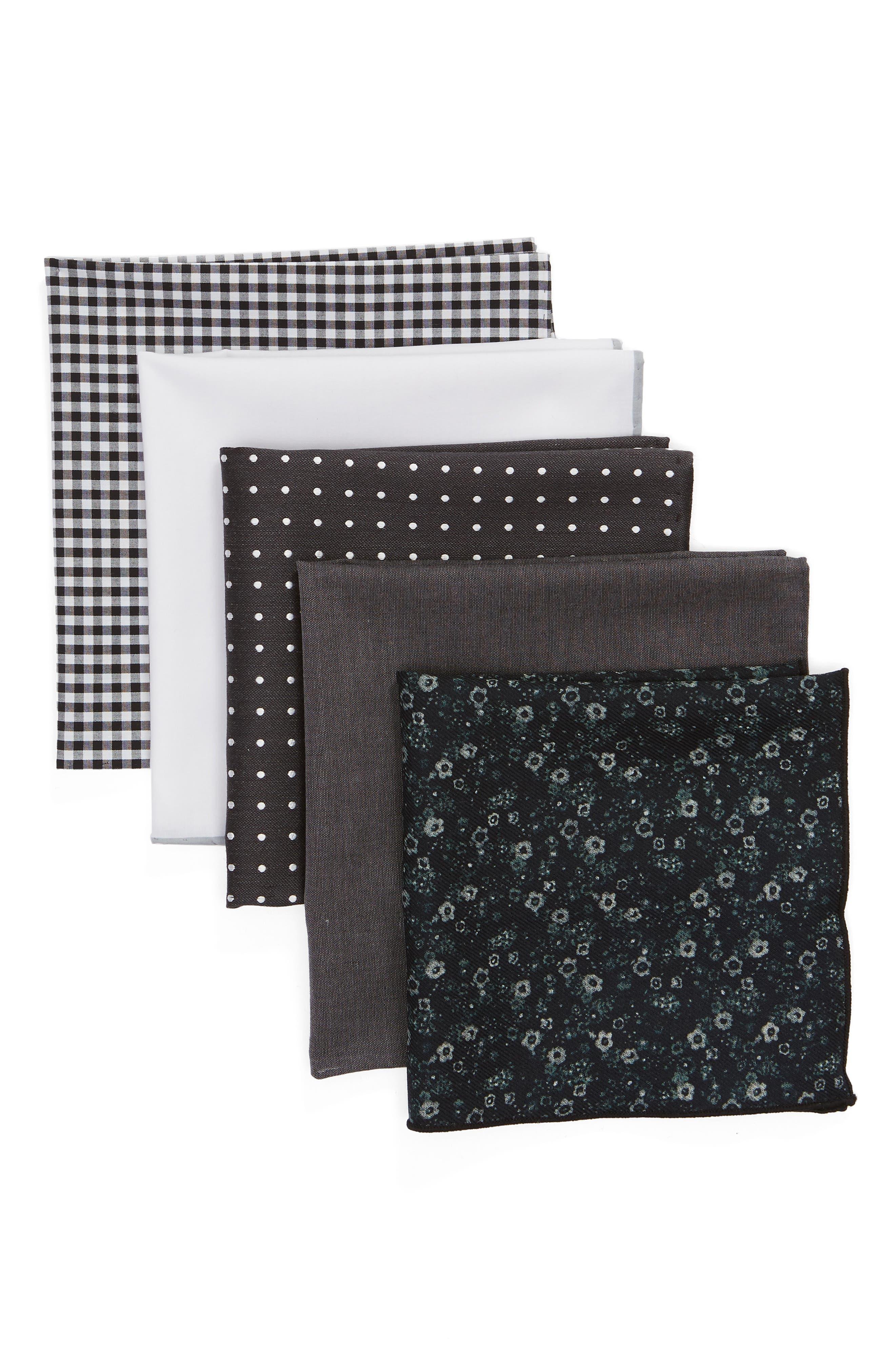 Basic Black 5-Pack Pocket Squares,                             Main thumbnail 1, color,                             BLACK