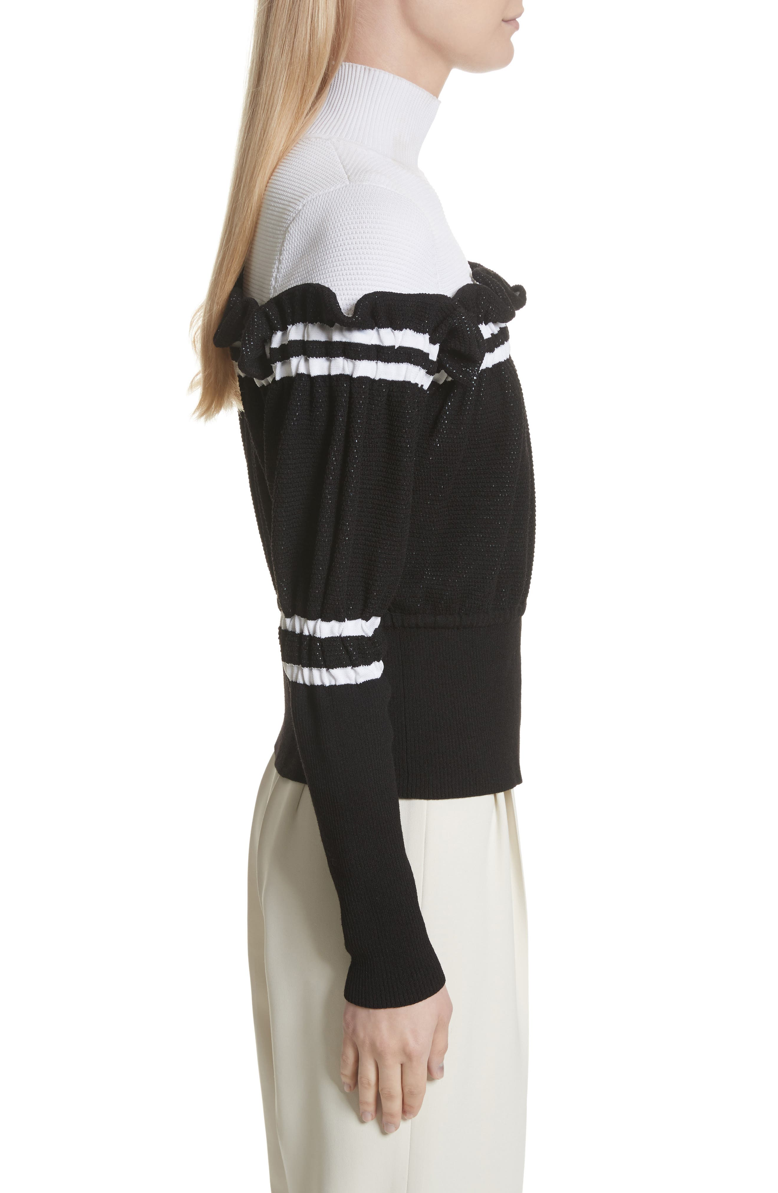 Ruffle Overlay Knit Turtleneck,                             Alternate thumbnail 3, color,