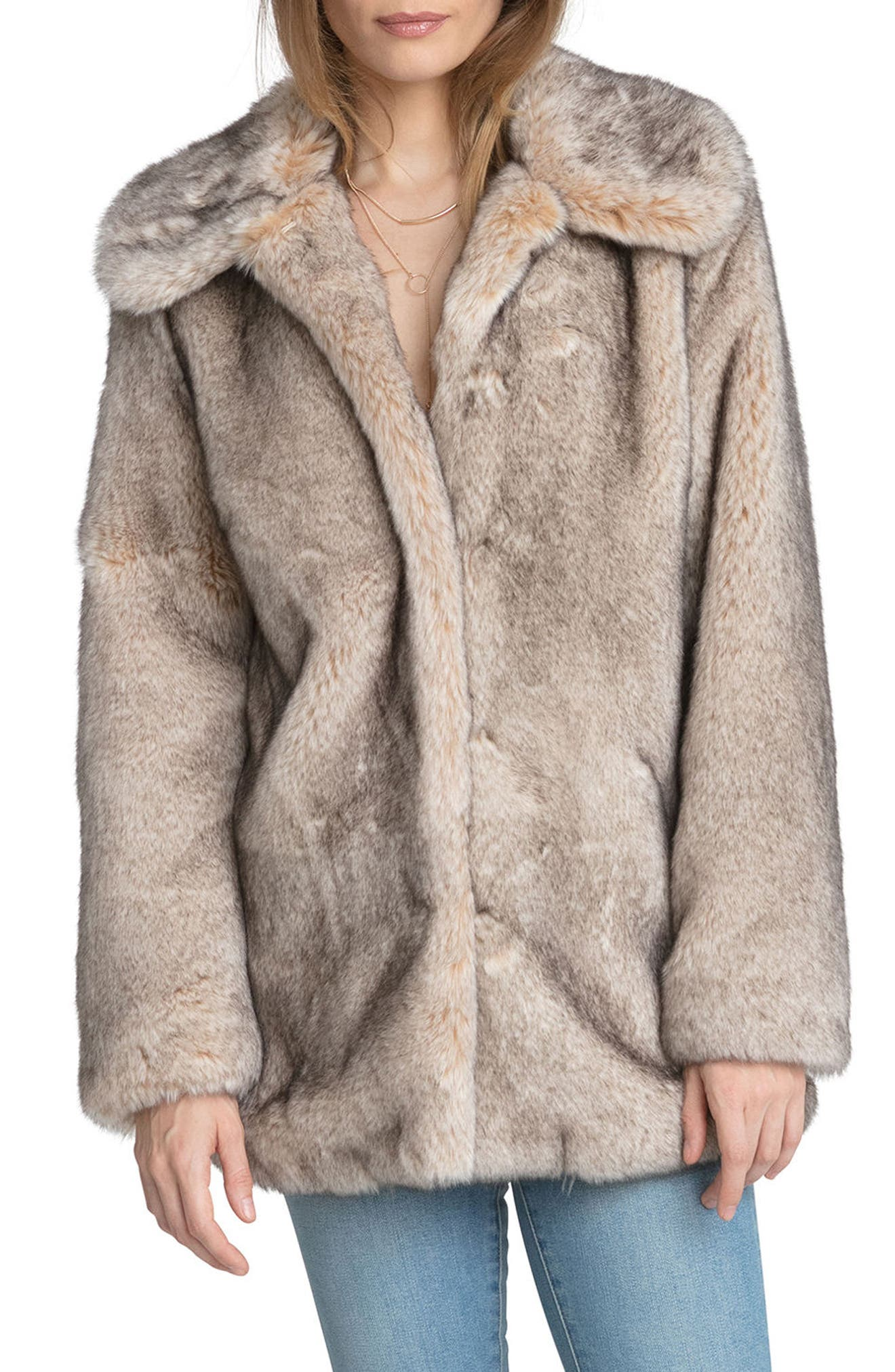 Faux Fur Swing Coat,                         Main,                         color, 257