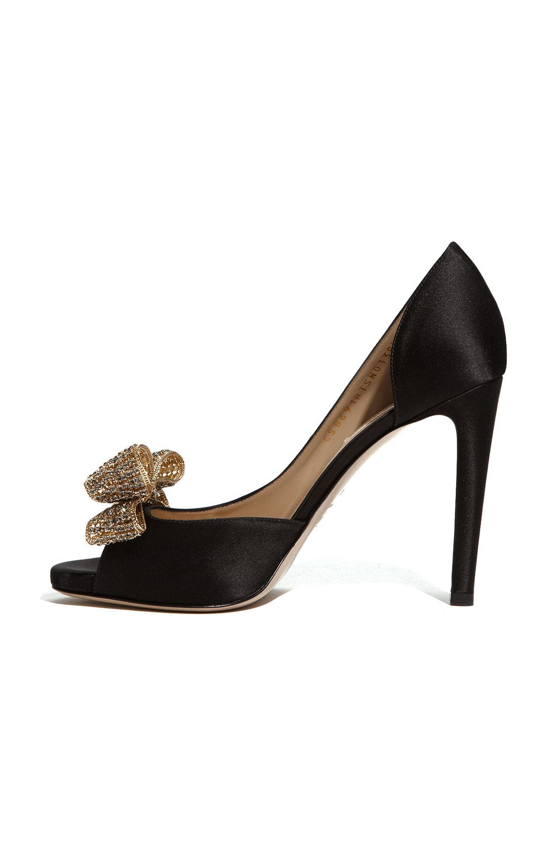 VALENTINO GARAVANI,                             Jewelry Couture Bow d'Orsay Pump,                             Alternate thumbnail 3, color,                             001