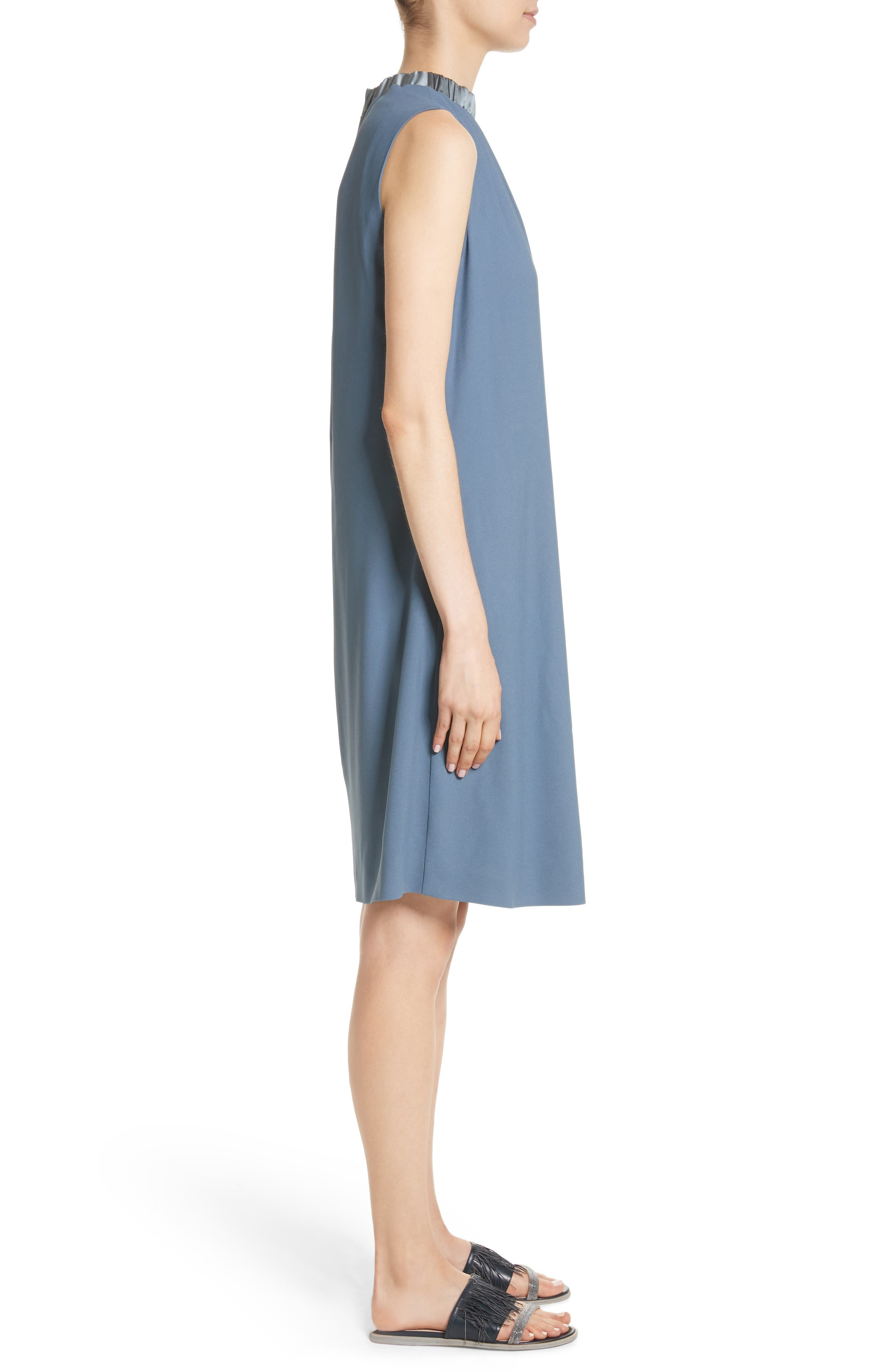 Satin Trim Crepe Dress,                             Alternate thumbnail 3, color,                             400