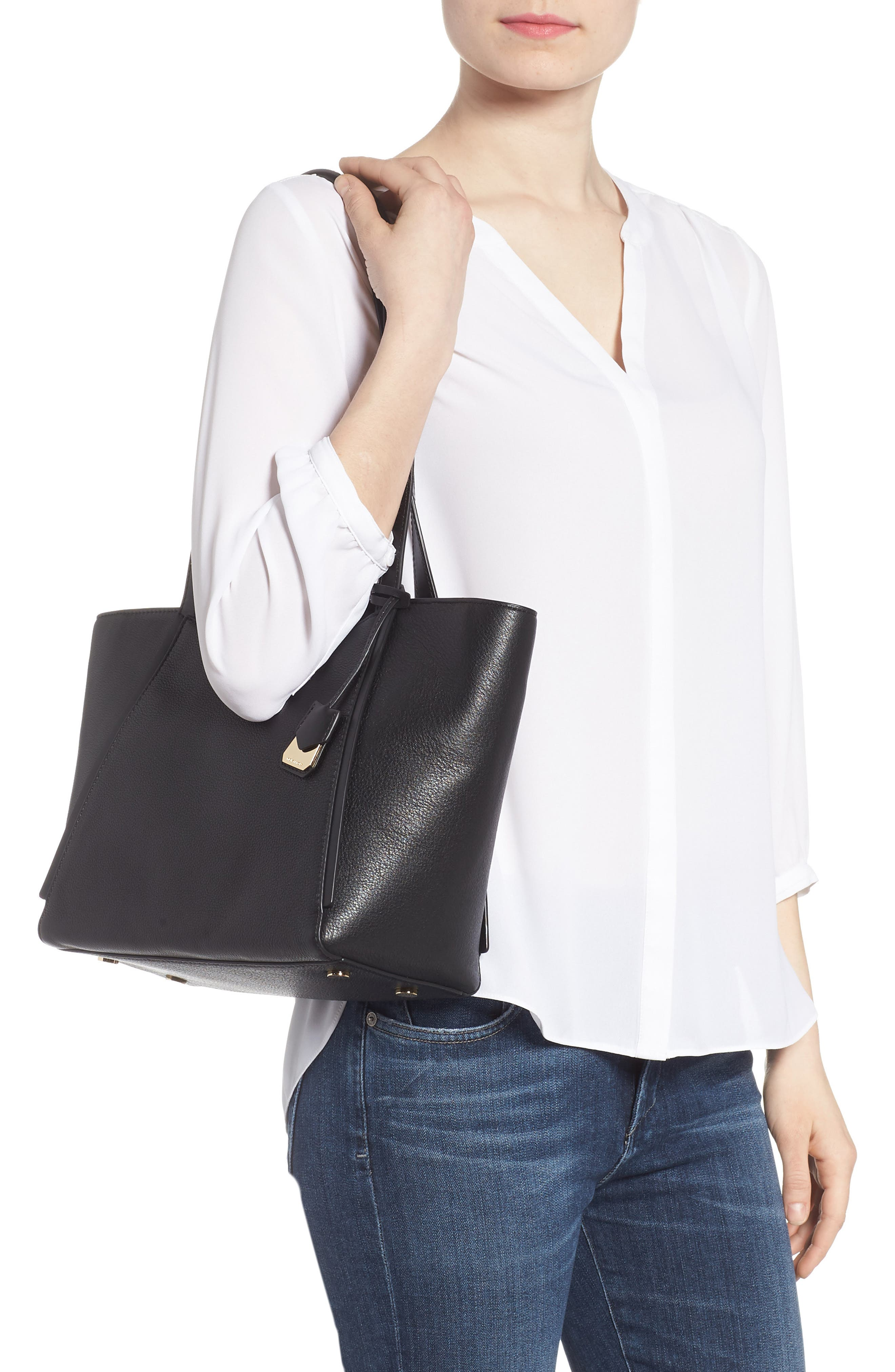 Small Whitney Leather Tote,                             Alternate thumbnail 6, color,