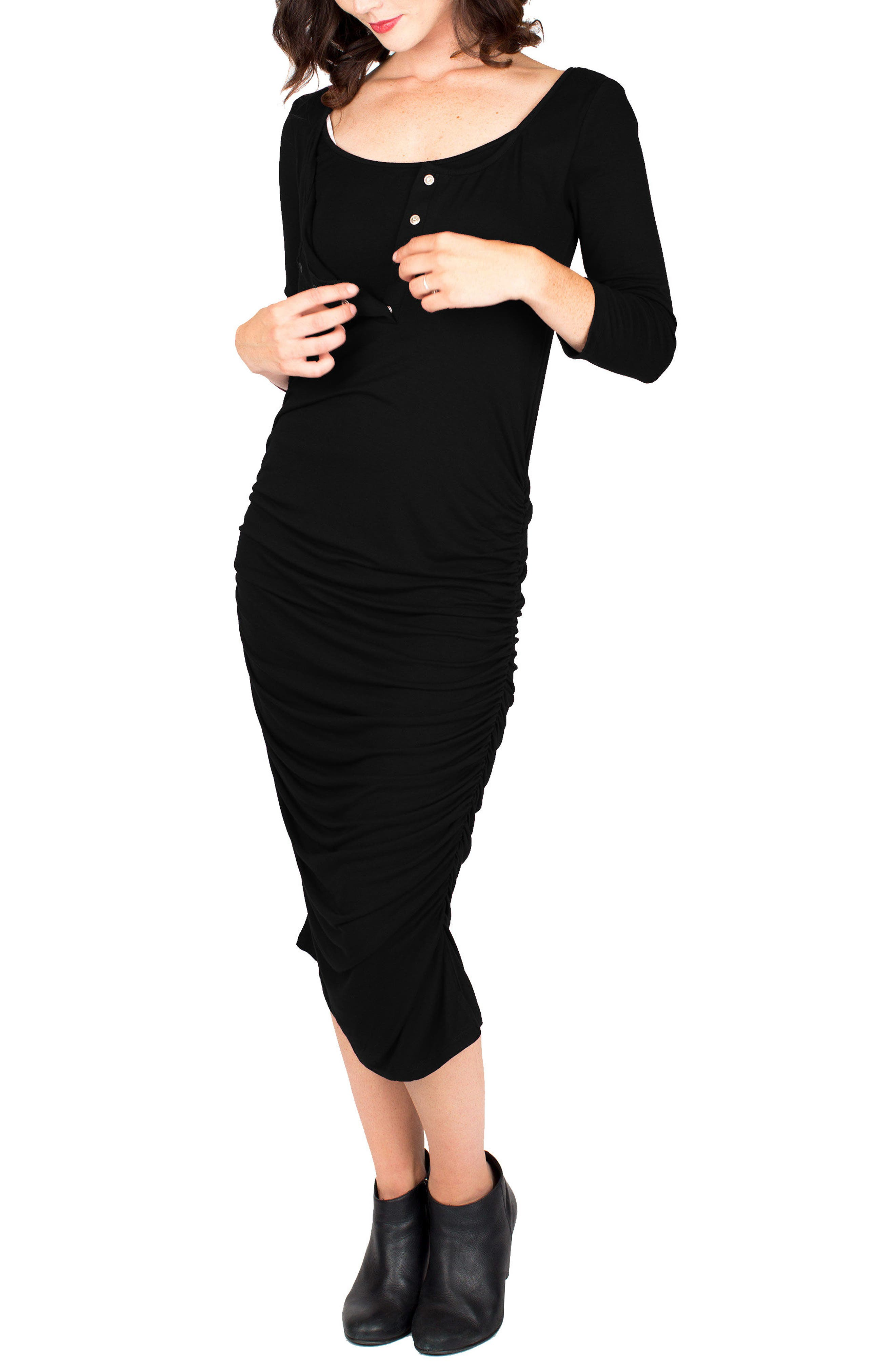 Nom Henley Maternity Dress,                             Alternate thumbnail 4, color,                             BLACK