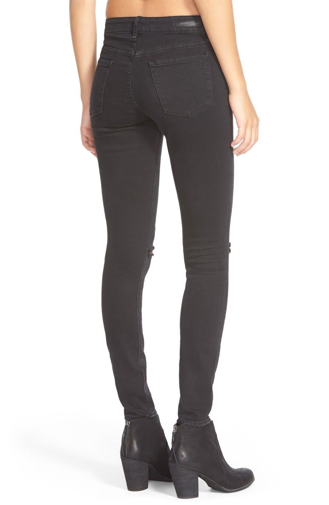 'Sarah' Distressed Skinny Jeans,                             Alternate thumbnail 4, color,                             006