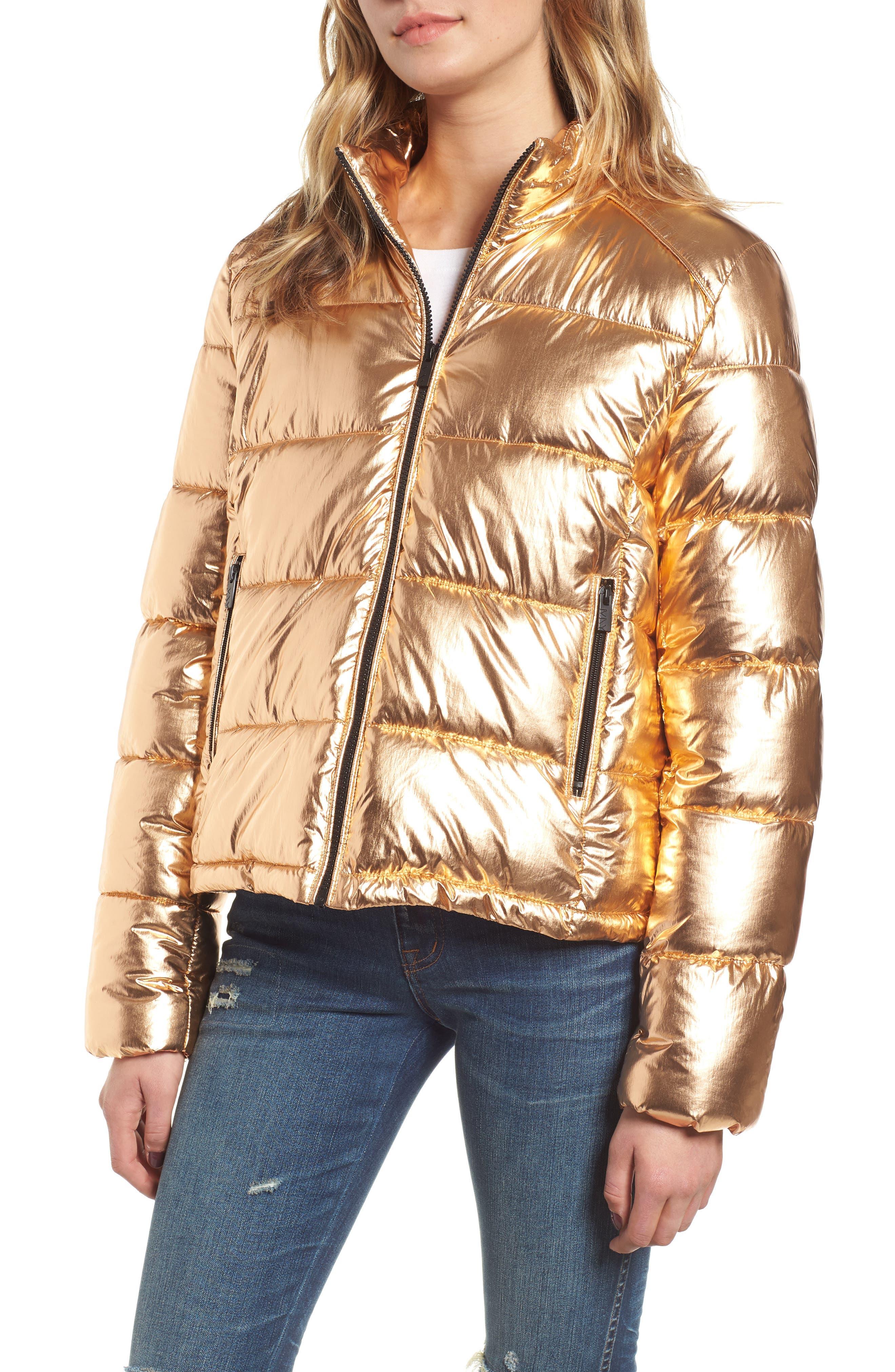 Metallic Puffer Jacket,                             Alternate thumbnail 4, color,                             COPPER
