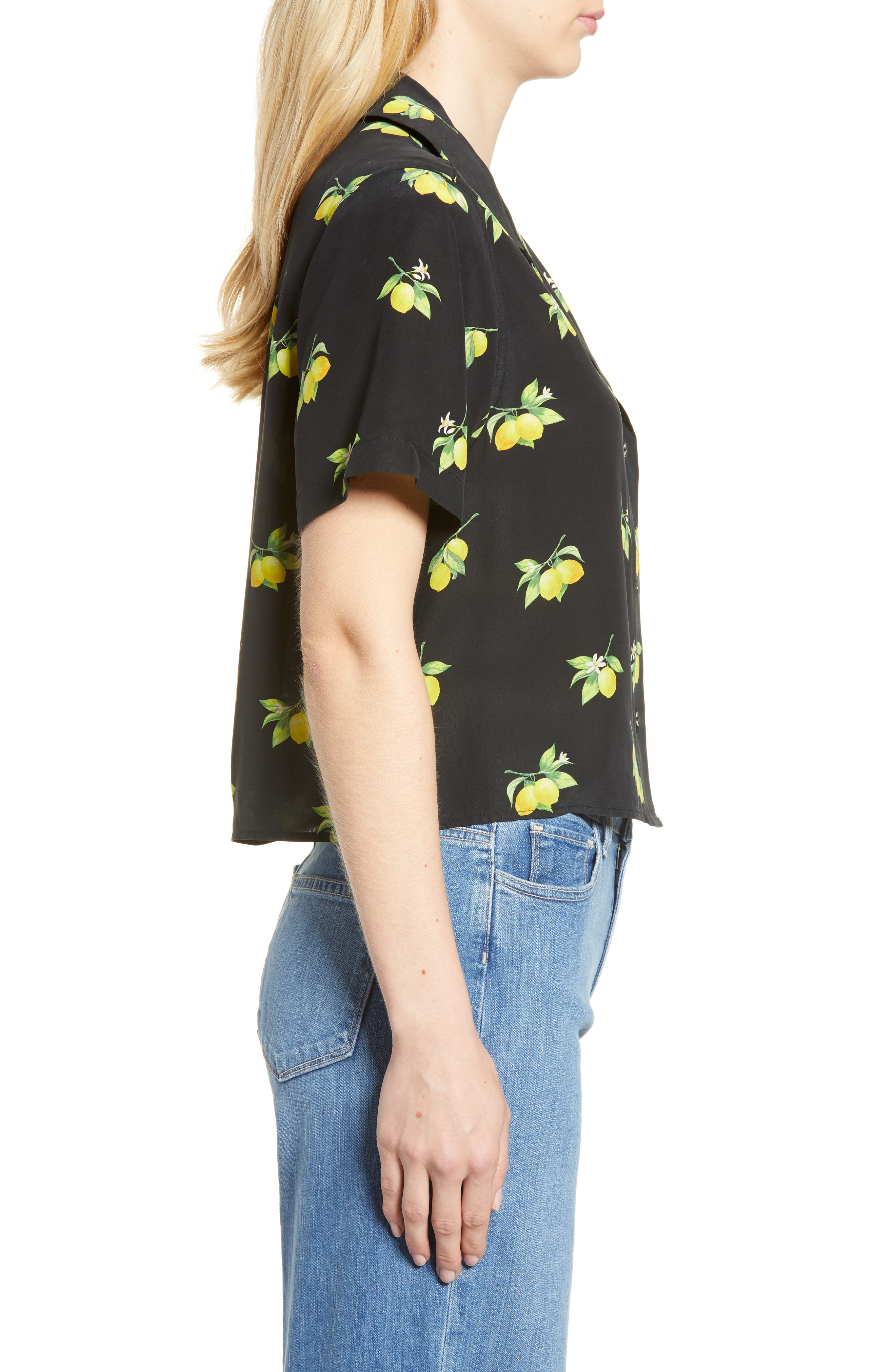 Maui Silk Shirt,                             Alternate thumbnail 3, color,                             001
