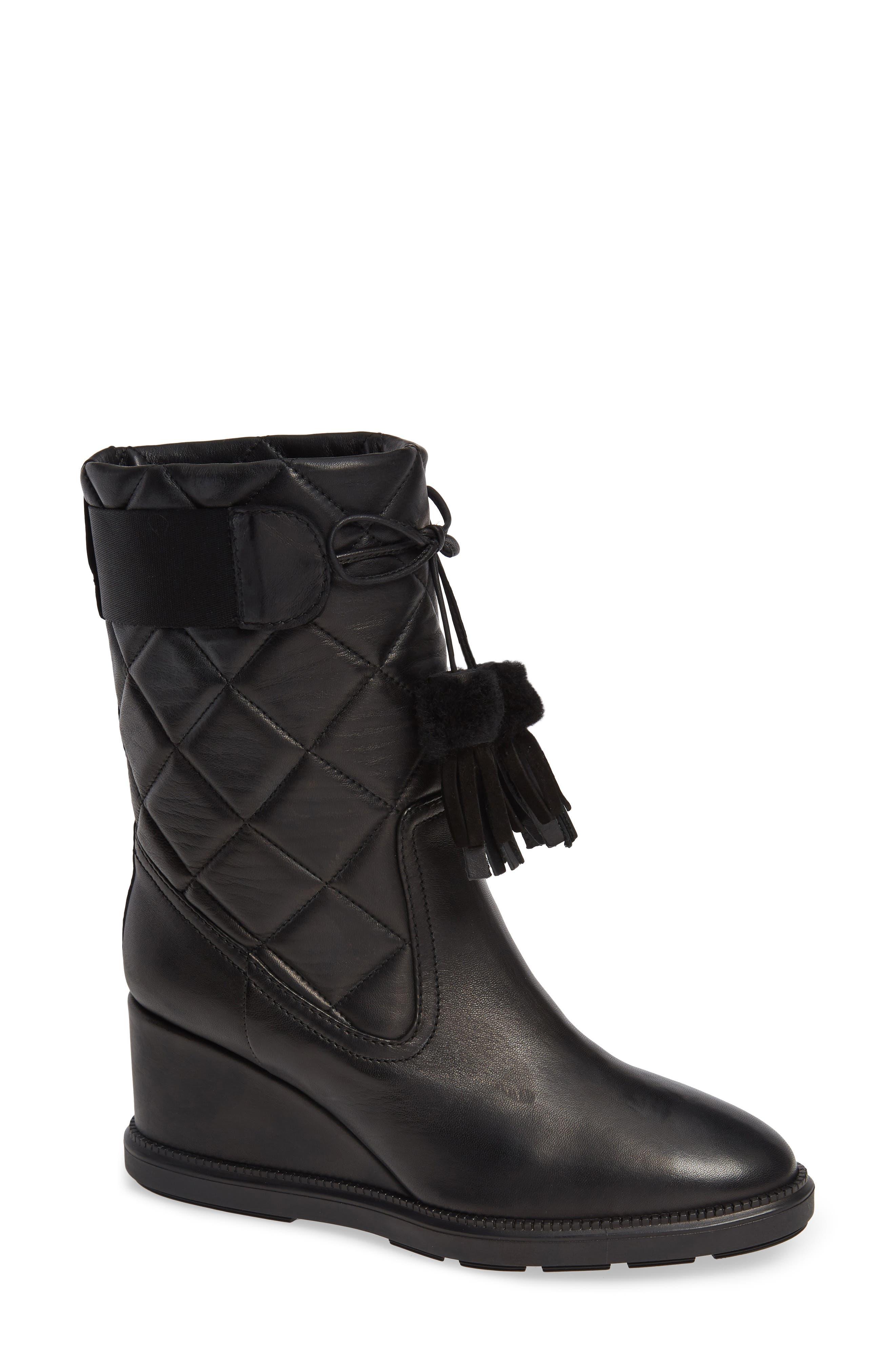 Caliana Water Resistant Genuine Shearling Lined Boot,                             Main thumbnail 1, color,                             BLACK NAPPA
