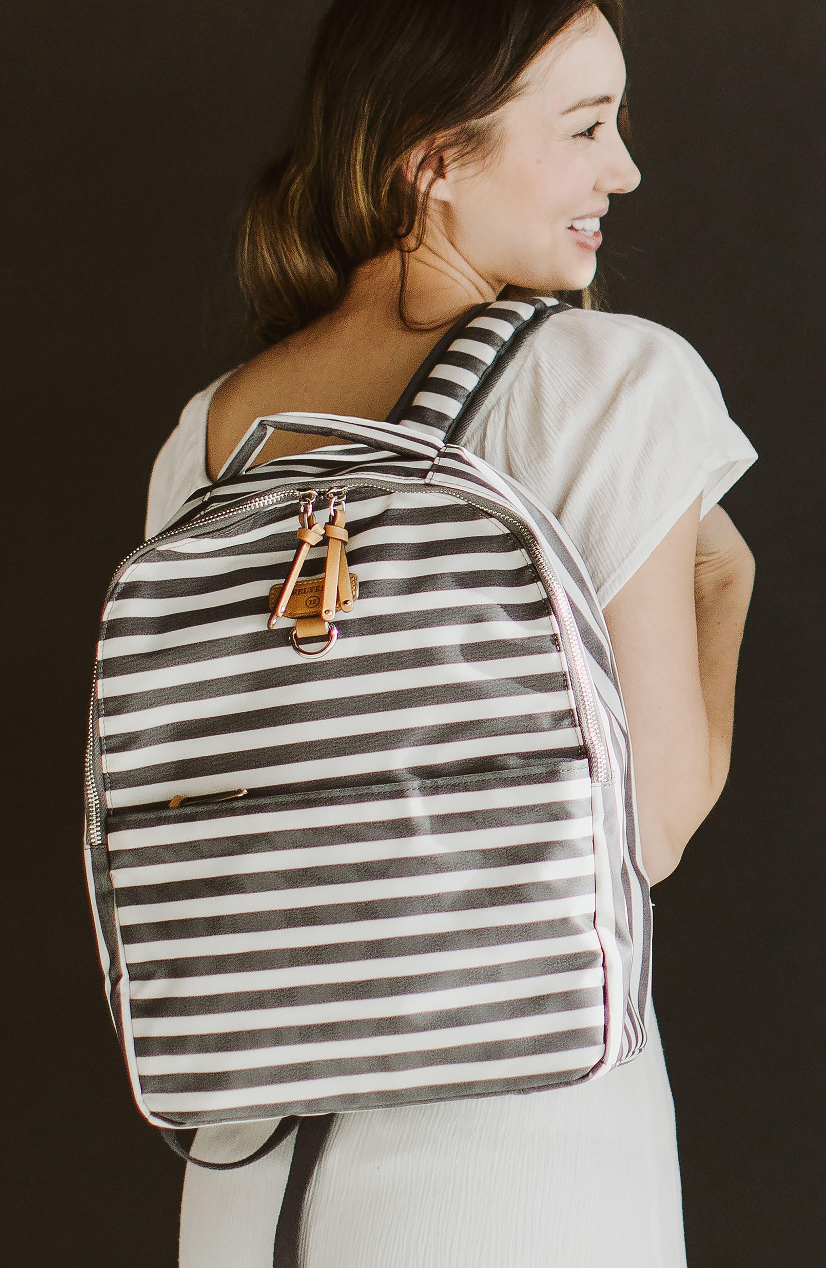 Mini-Go Water Resistant Diaper Backpack,                             Alternate thumbnail 5, color,                             STRIPE