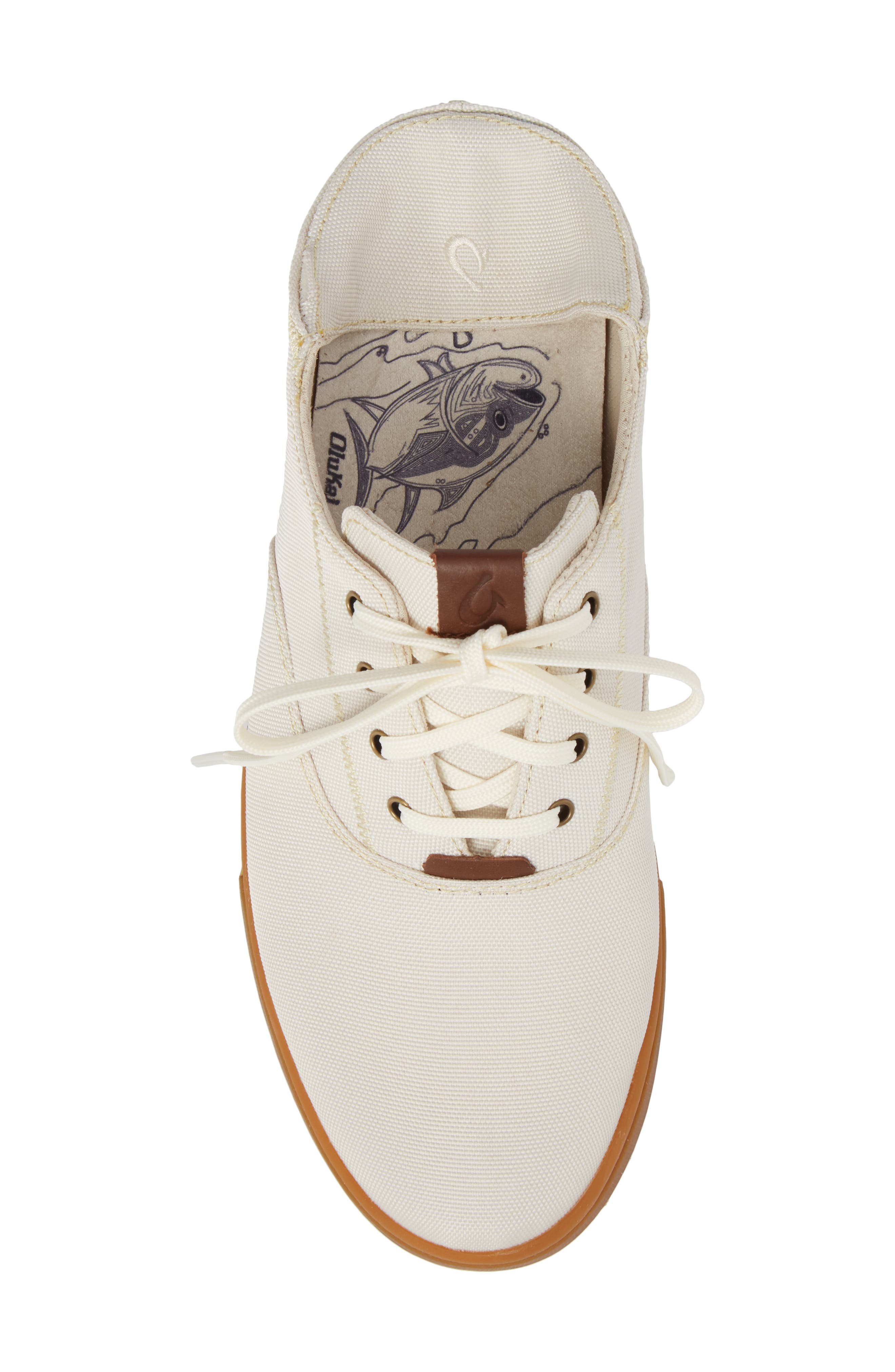 Kahu Collapsible Lace-Up Sneaker,                             Alternate thumbnail 6, color,                             OFF WHITE/ TOFFEE