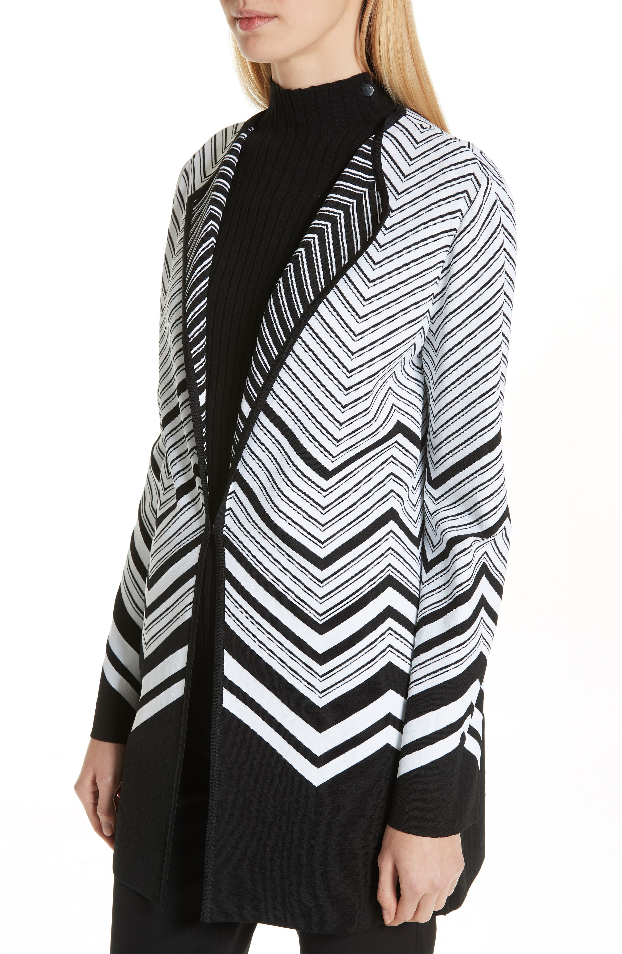 Chevron Jacquard Sweater Jacket,                             Alternate thumbnail 4, color,                             CAVIAR/ WHITE