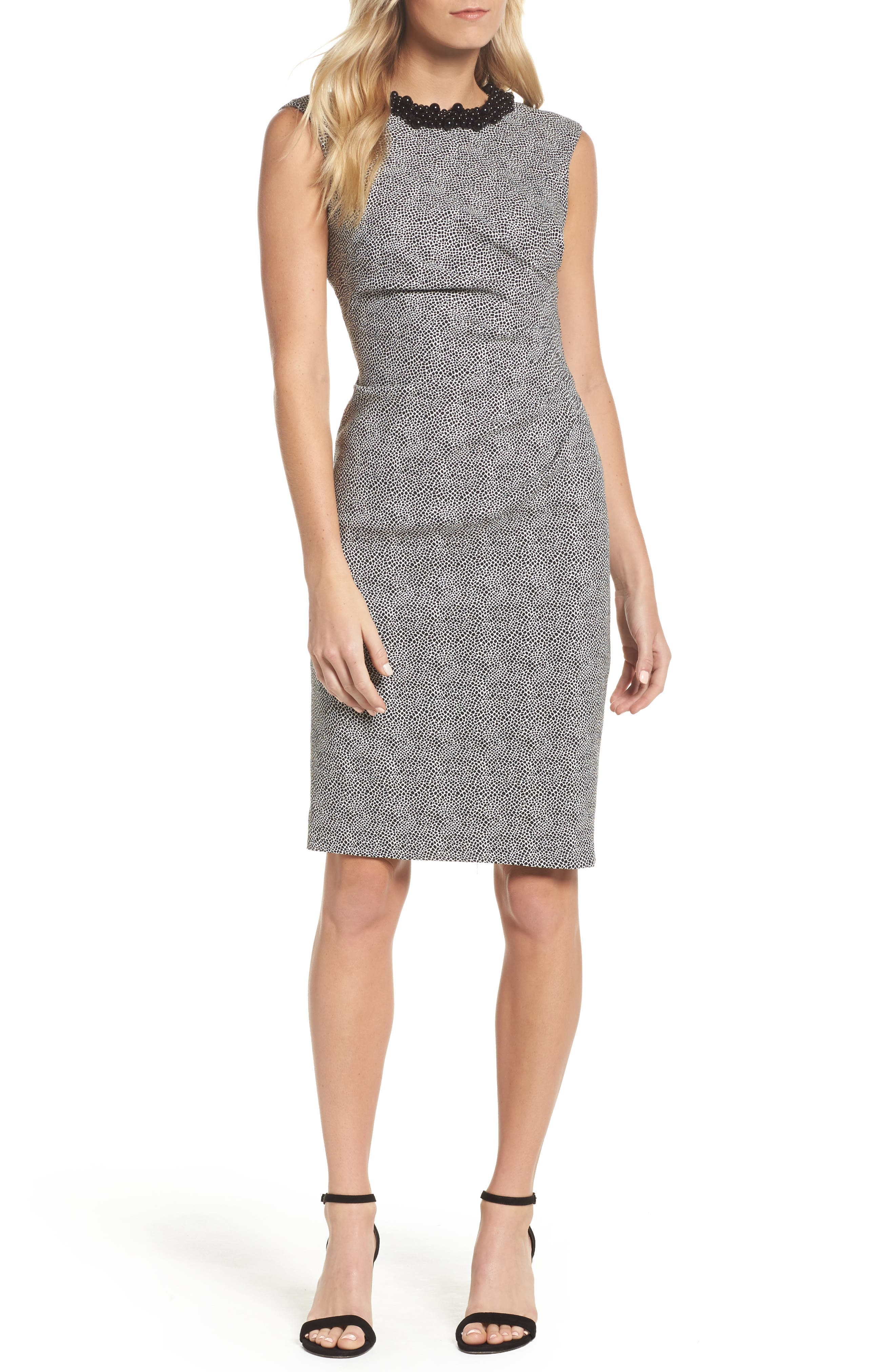 Embellished Jacquard Sheath Dress,                             Main thumbnail 1, color,                             001