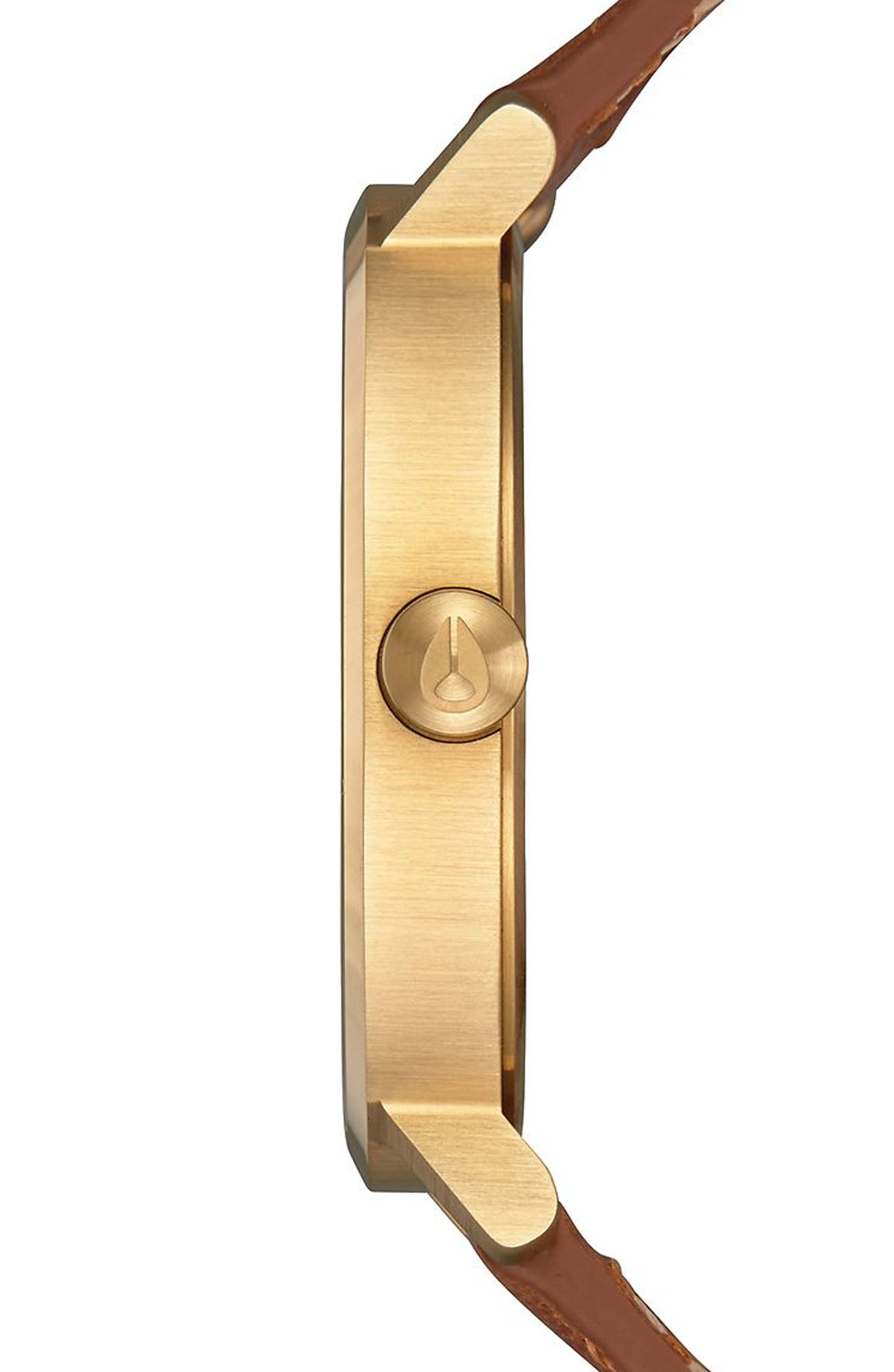 The Arrow Leather Strap Watch, 38mm,                             Alternate thumbnail 3, color,                             SADDLE/ WHITE/ GOLD