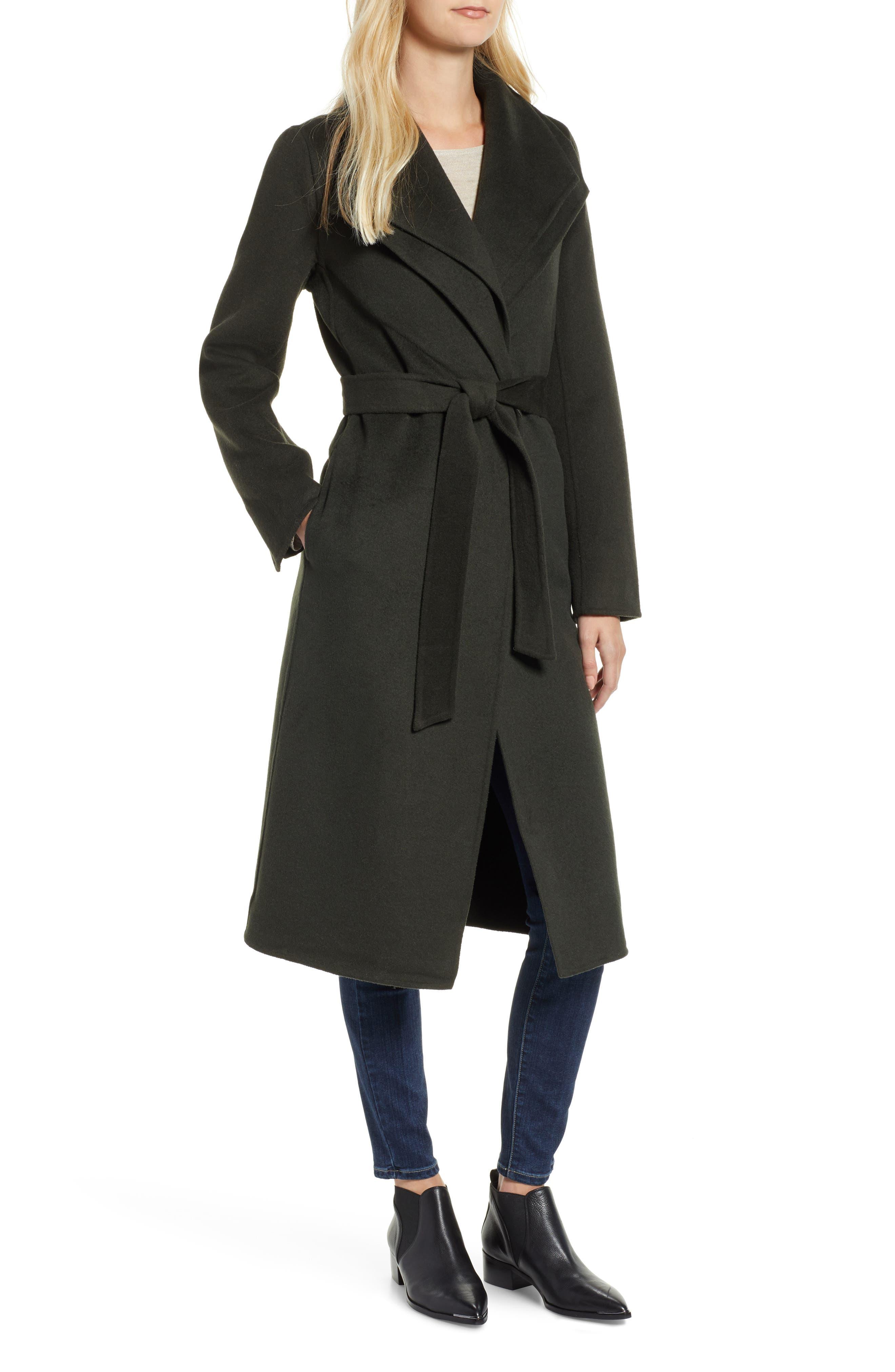 Elliot Long Wrap Coat,                         Main,                         color, CHIVE