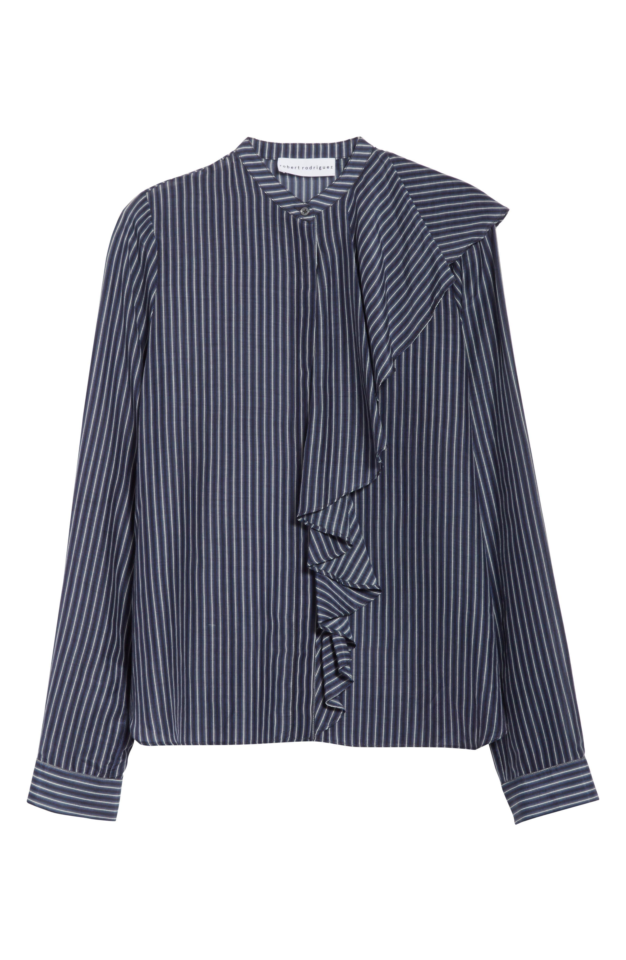 Vertical Stripe Ruffle Shirt,                             Alternate thumbnail 6, color,                             400