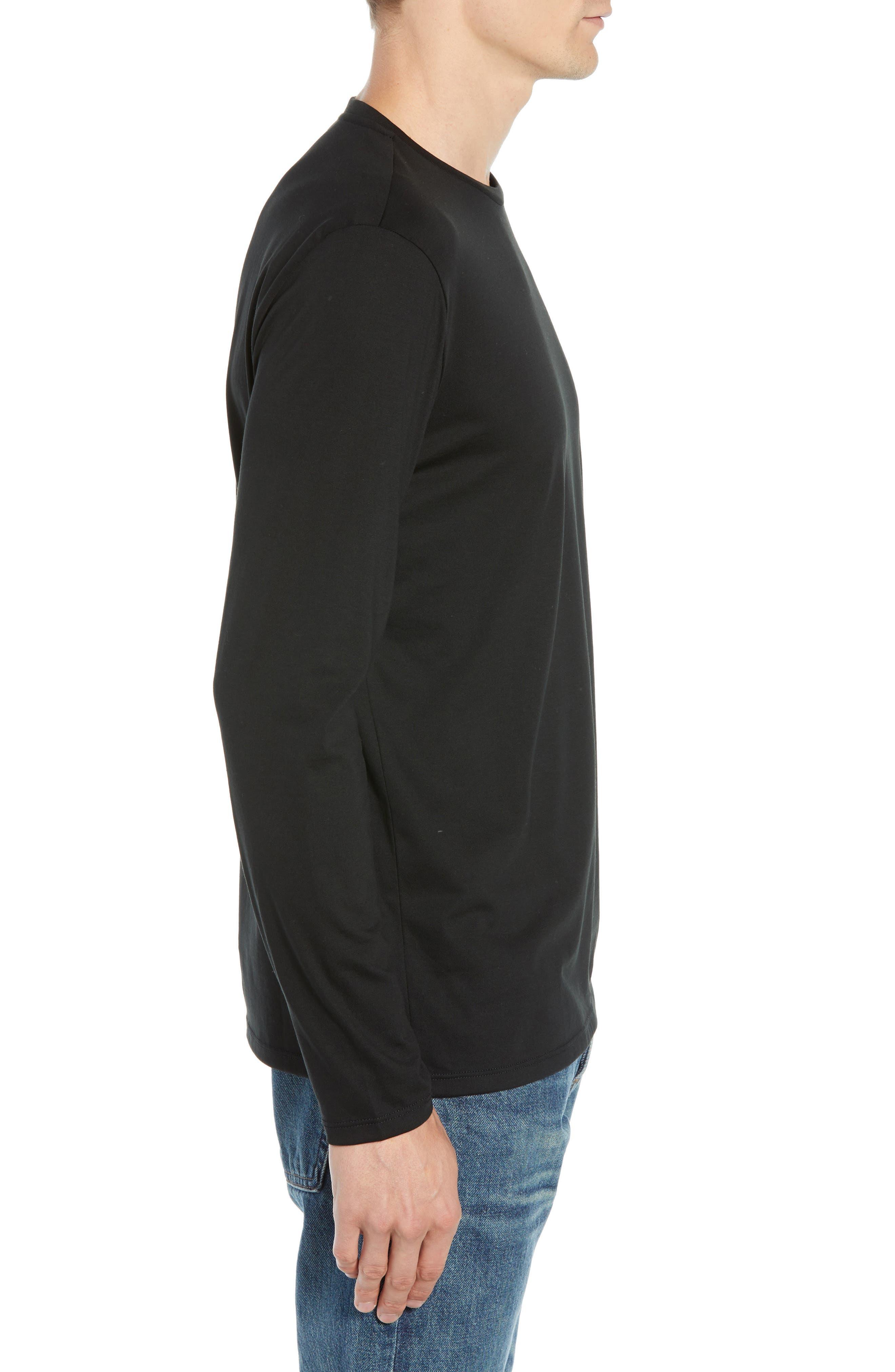 Long Sleeve Pima Cotton T-Shirt,                             Alternate thumbnail 3, color,                             BLACK