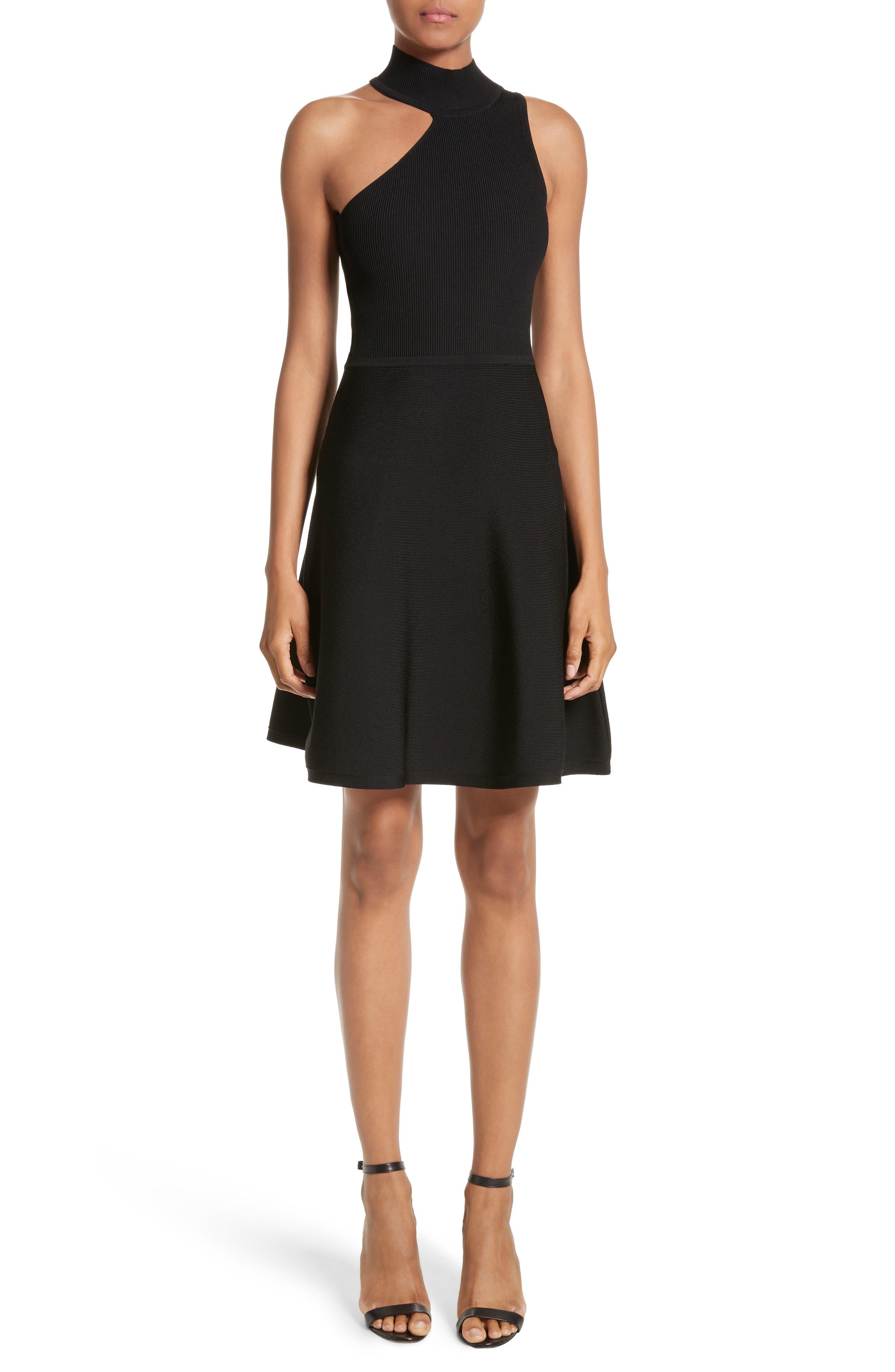 Vika One-Shoulder Knit Flare Dress,                             Main thumbnail 1, color,                             001