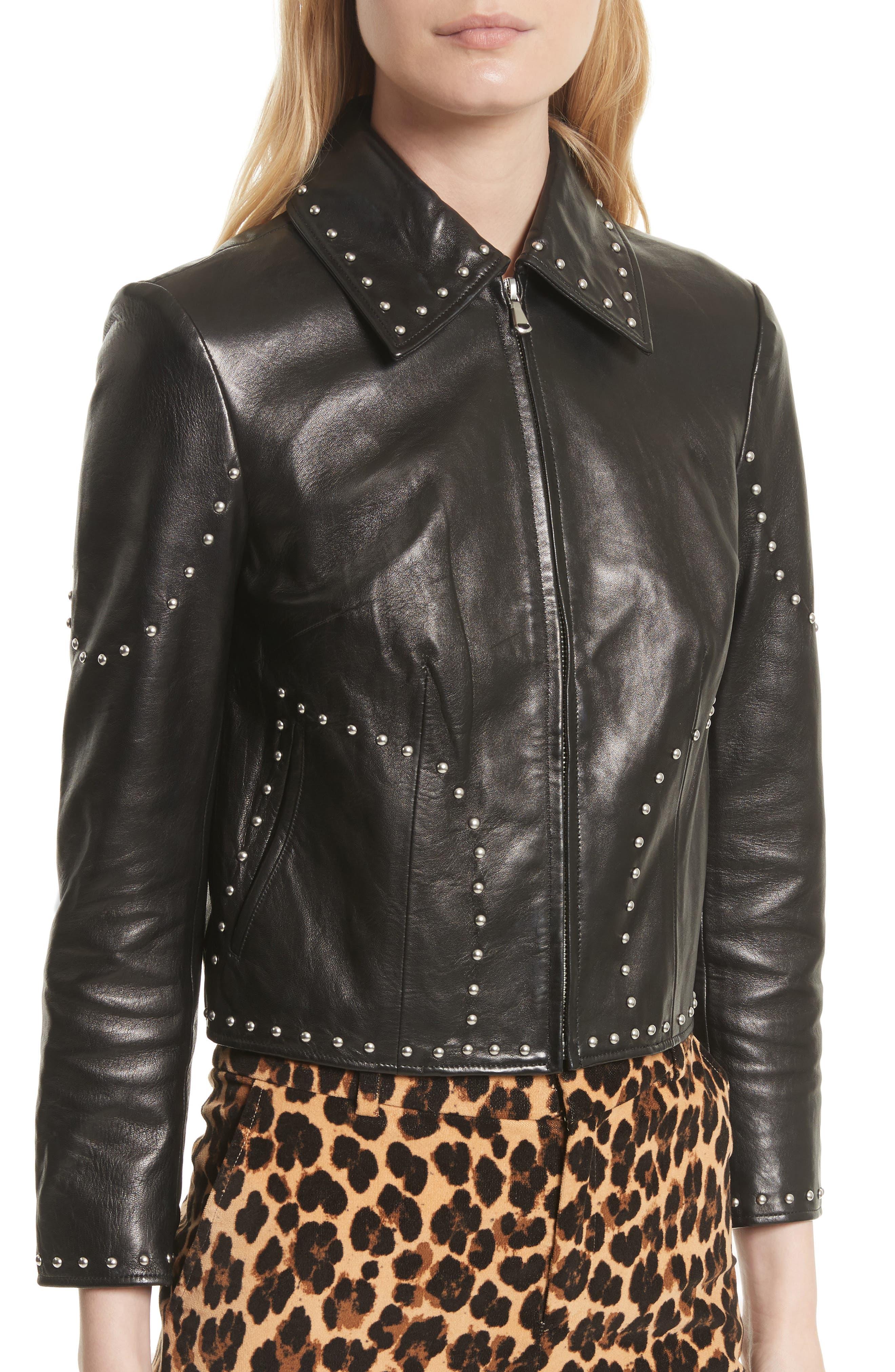 Studded Leather Jacket,                             Alternate thumbnail 4, color,                             001