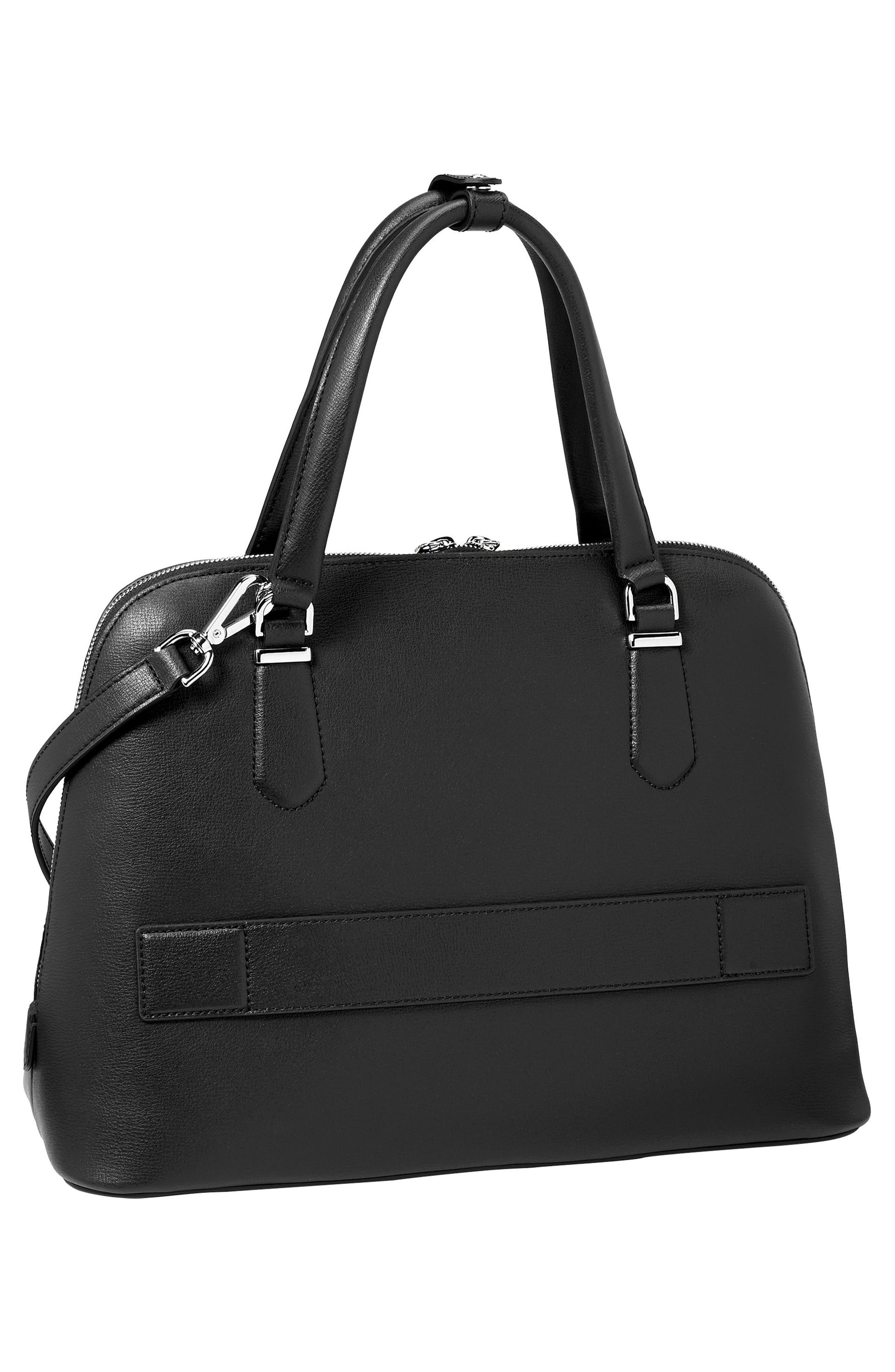 Stanton – Deonne Domed Leather Satchel,                             Alternate thumbnail 3, color,                             001