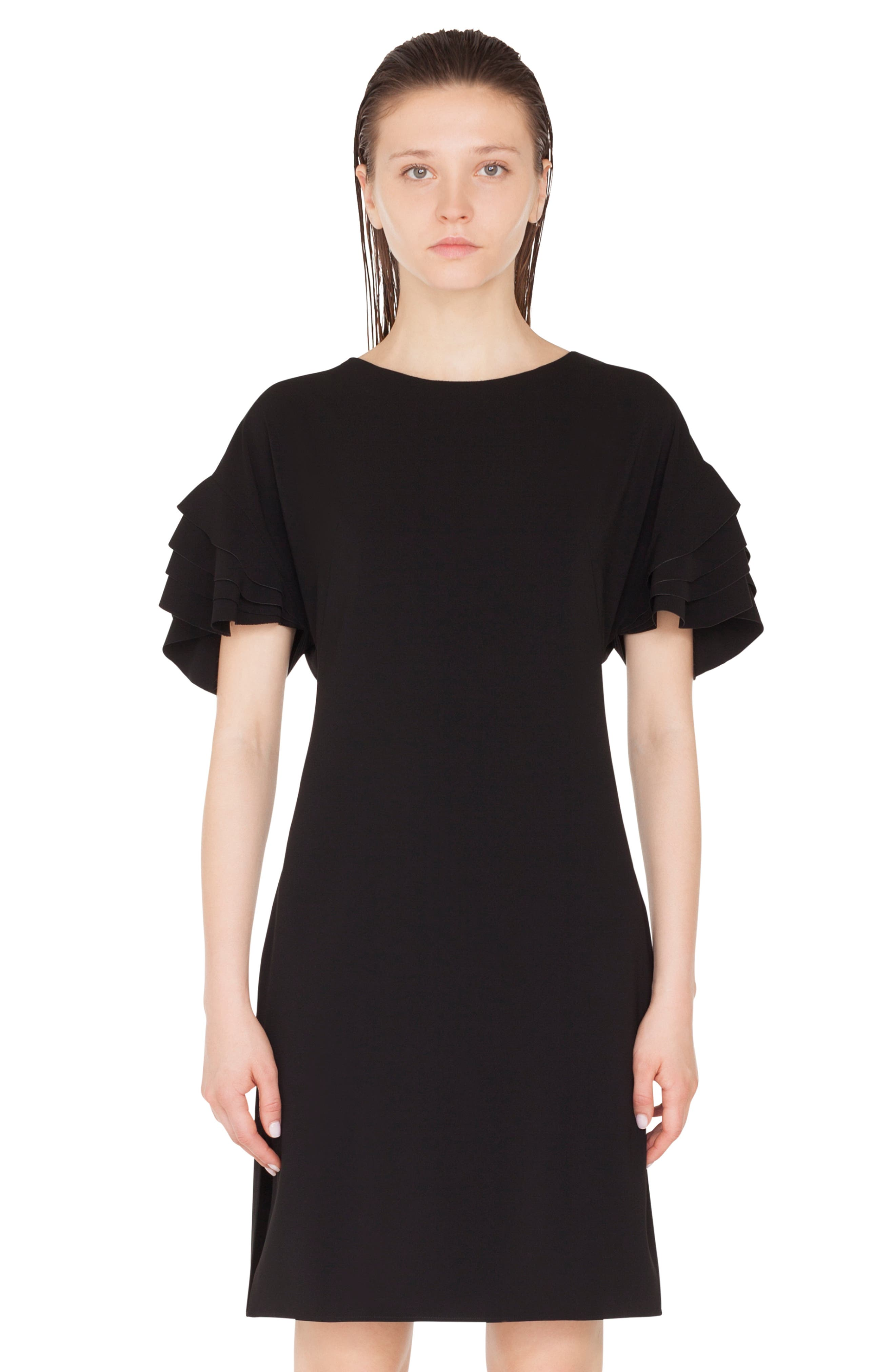 AKRIS PUNTO,                             Layered Sleeve Dress,                             Alternate thumbnail 3, color,                             NERO