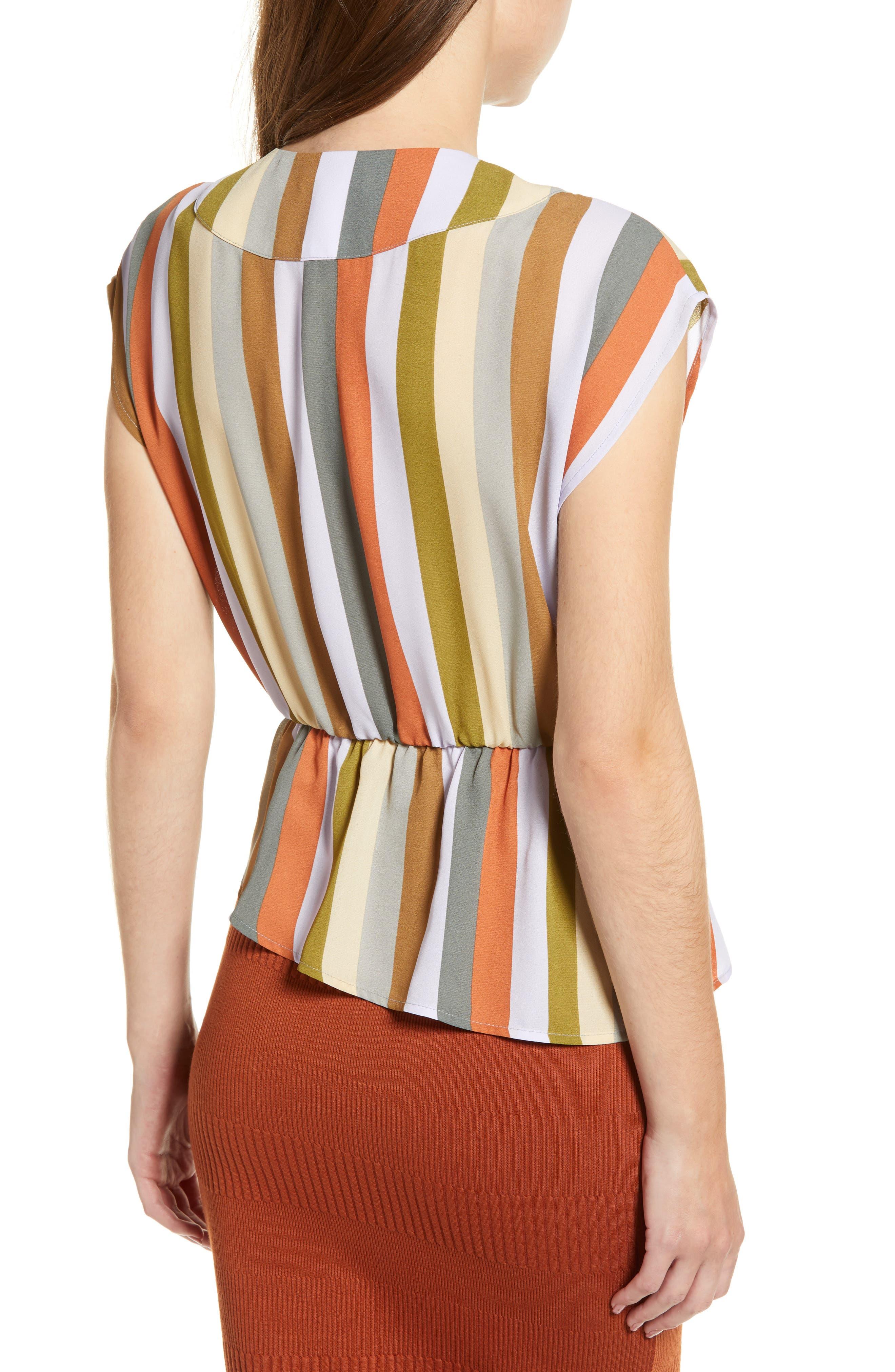 LEITH,                             Wrap Style Blouse,                             Alternate thumbnail 2, color,                             PURPLE FROST MULTI STRIPE