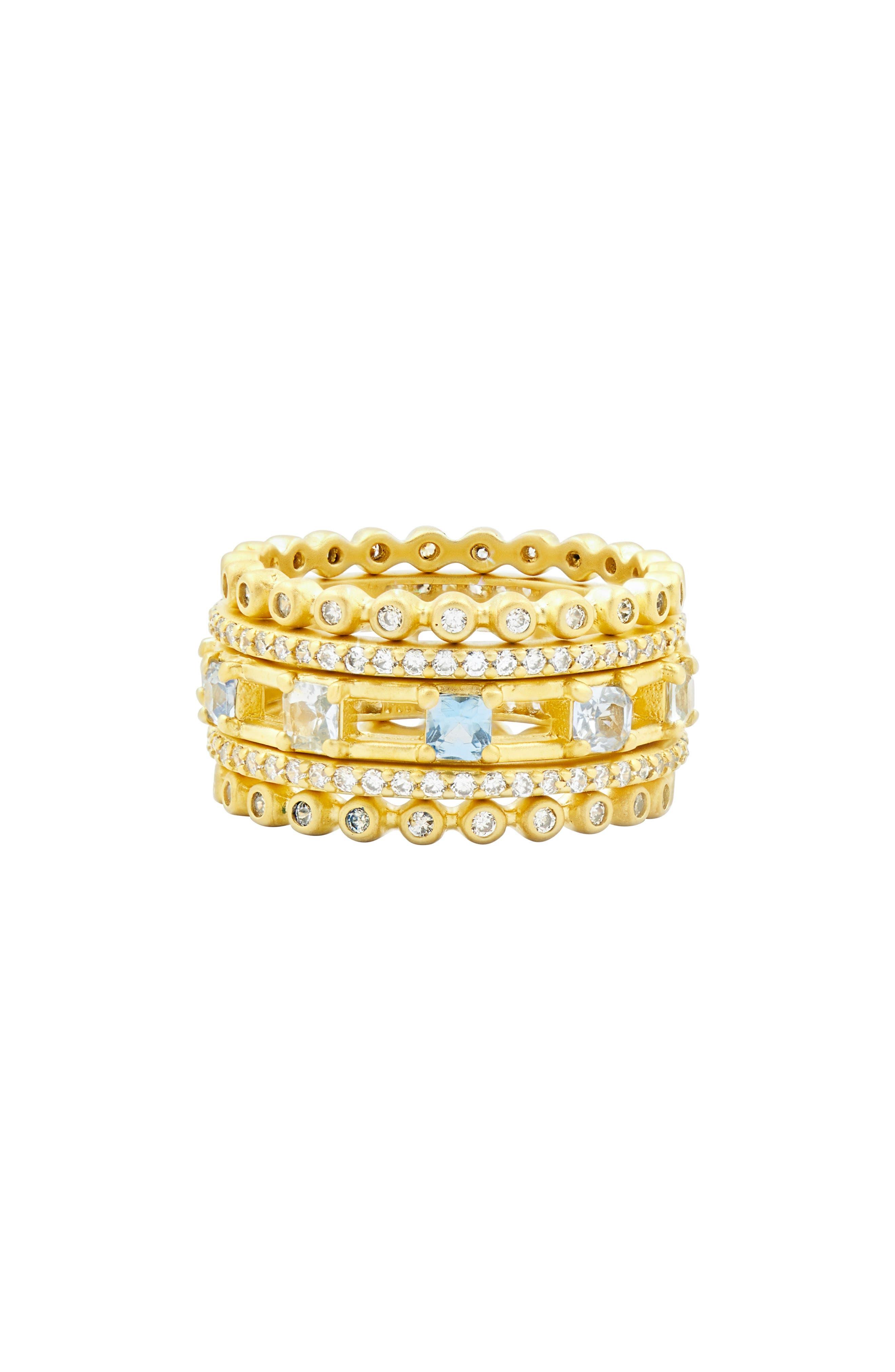 Ocean Azure Cubic Zirconia Ring,                         Main,                         color, GOLD/ AQUA