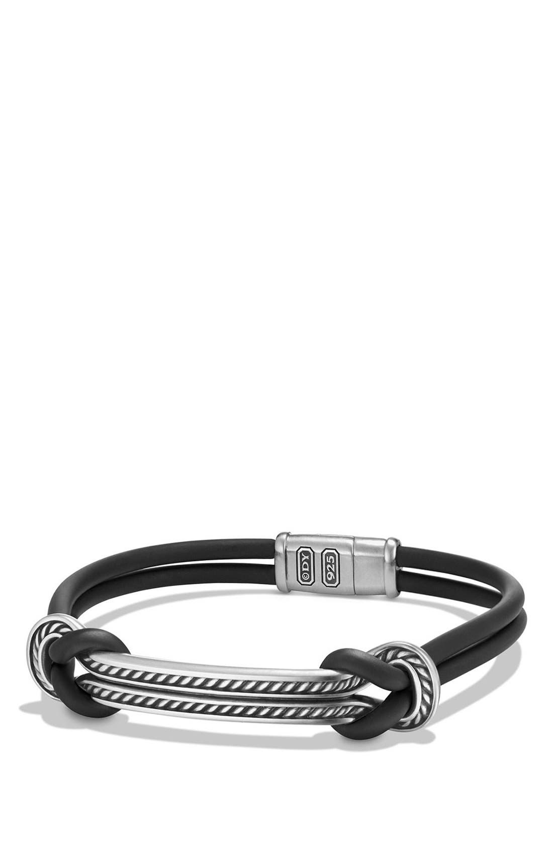 'Maritime' Rubber Reef Knot ID Bracelet,                         Main,                         color, SILVER/ BLACK
