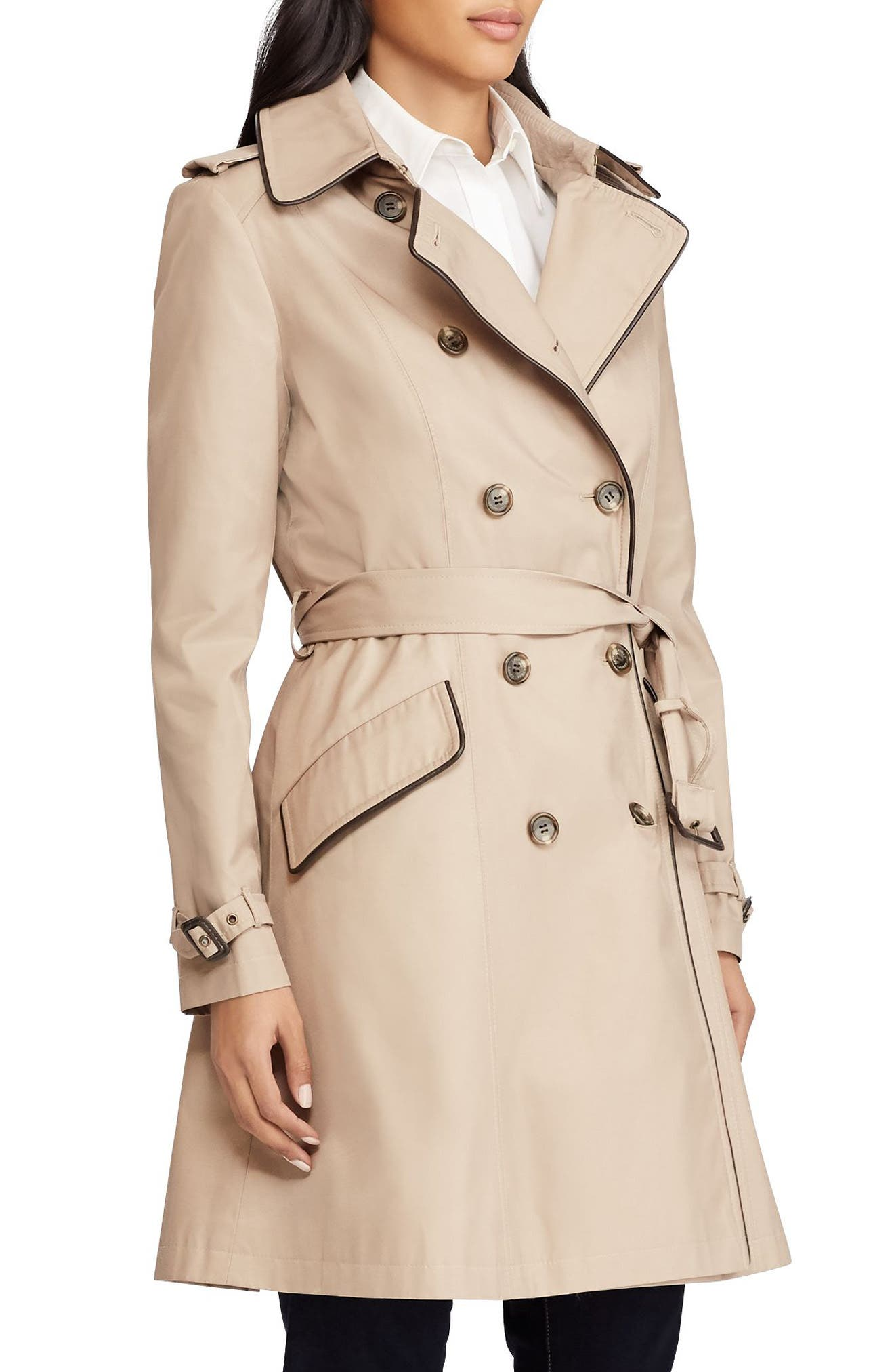 Double Breasted Short Trench Coat,                             Main thumbnail 1, color,                             SAND