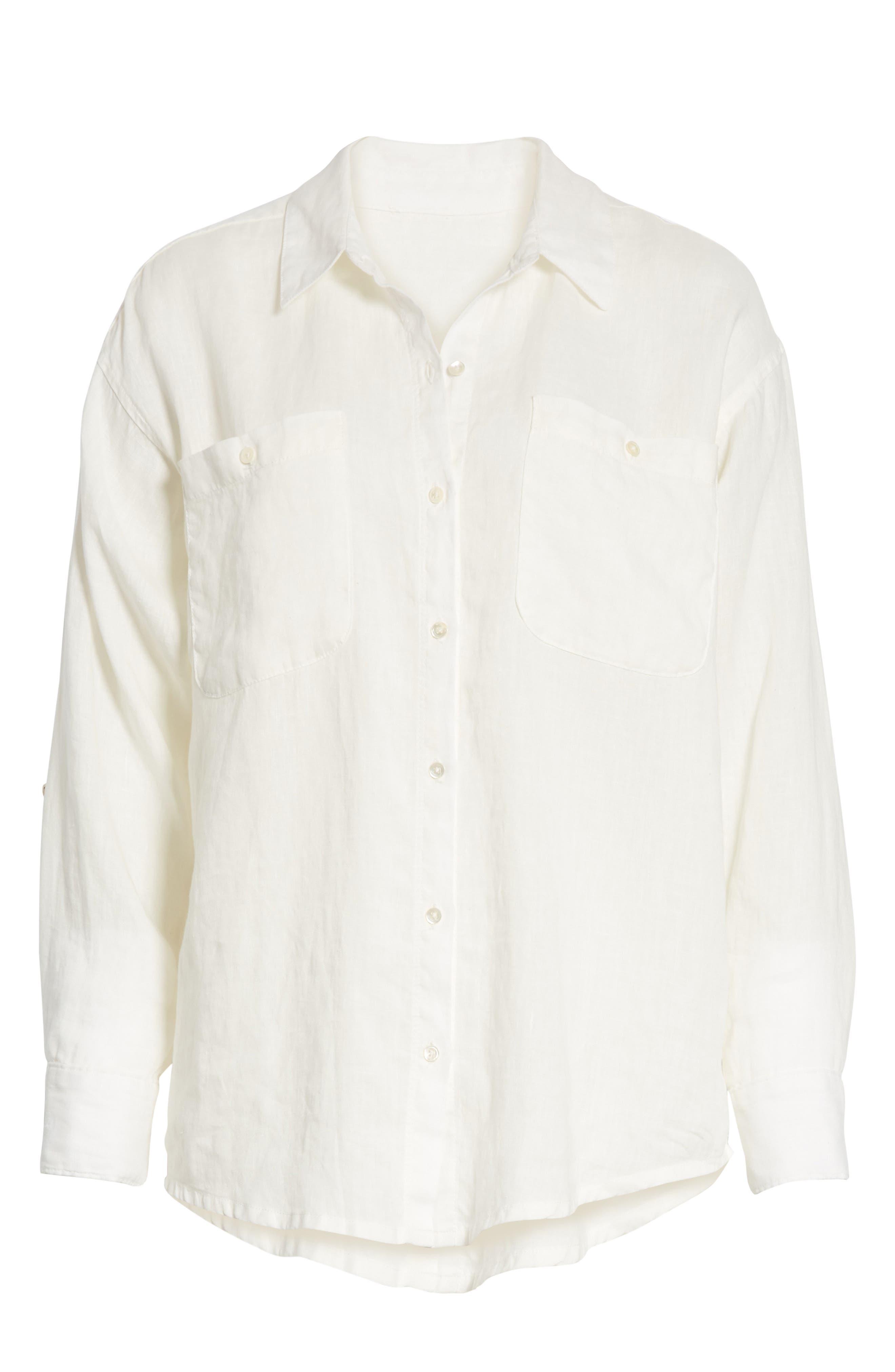 Lidelle Button Tab Linen Blouse,                             Alternate thumbnail 6, color,                             120