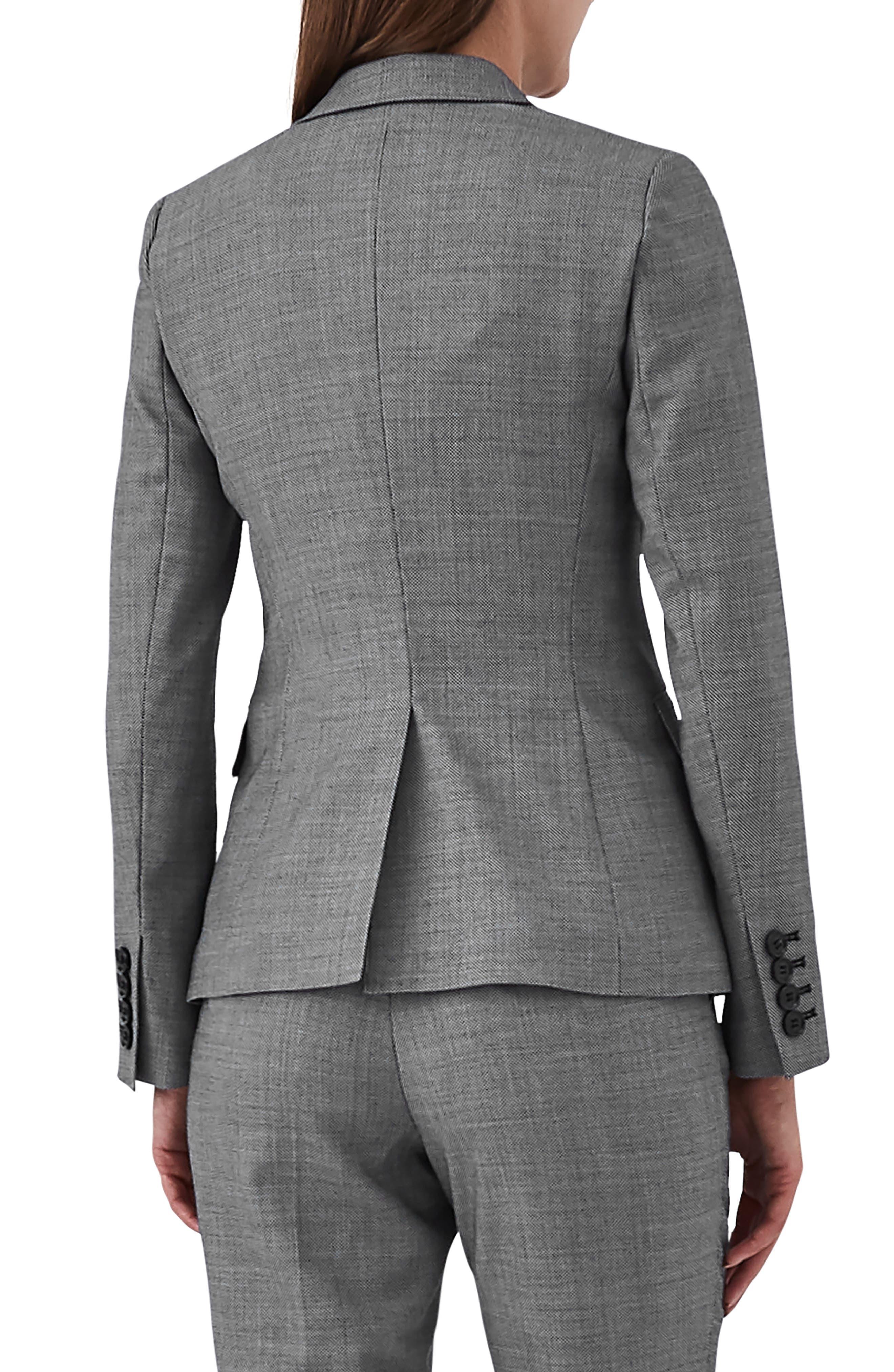 Alber Tweed Stretch Wool Blend Blazer,                             Alternate thumbnail 2, color,                             GREY