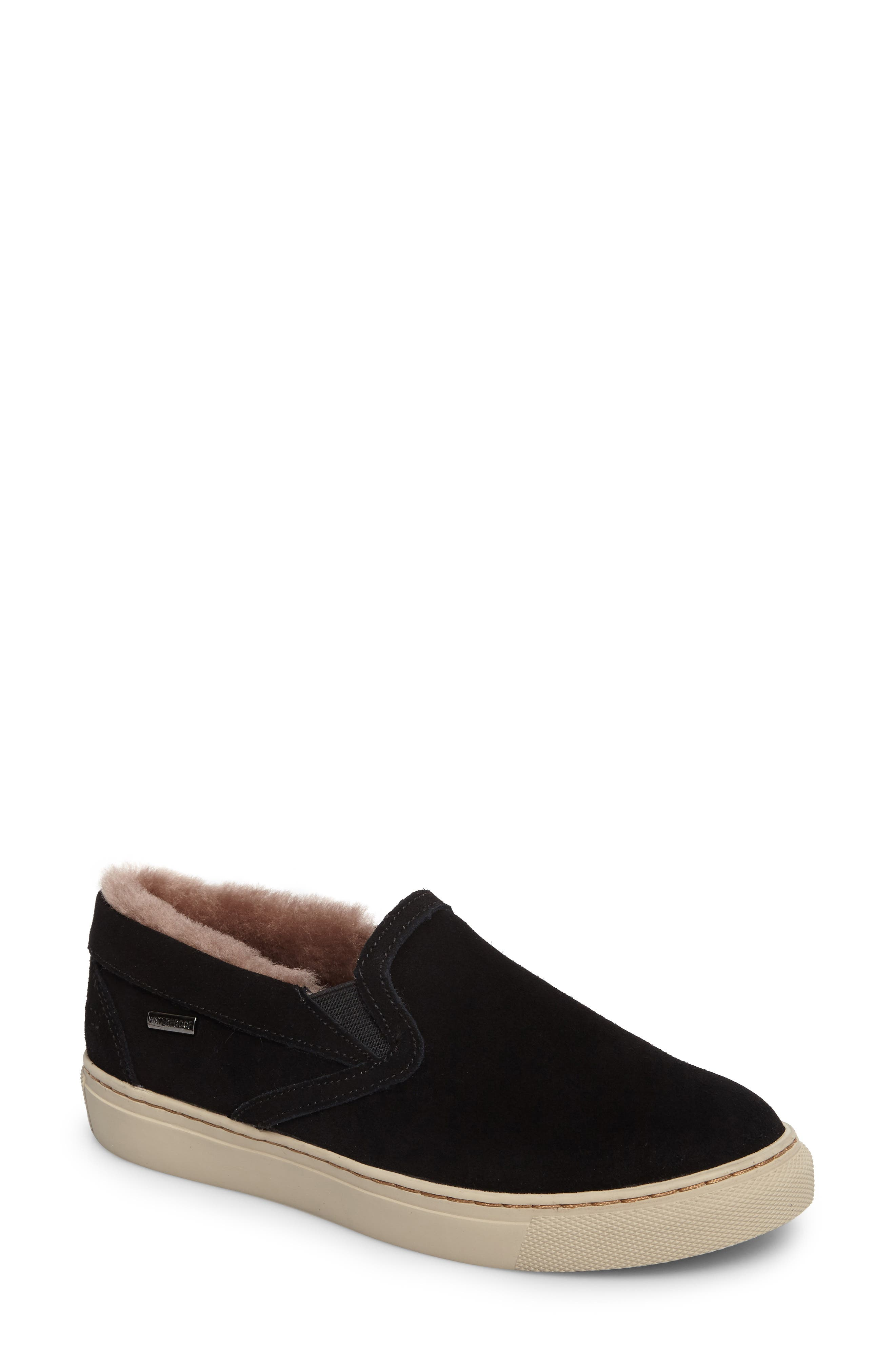 Fawn Waterproof Genuine Shearling Slip-On,                             Main thumbnail 1, color,                             BLACK SUEDE