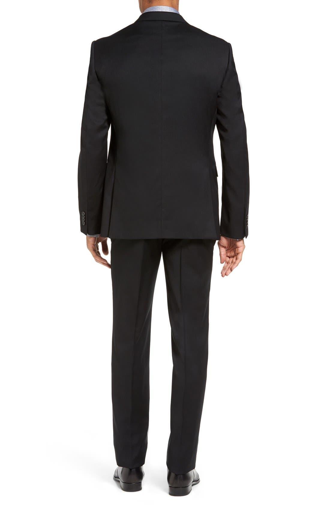Drop 7 Trim Fit Wool Suit,                             Alternate thumbnail 5, color,                             001