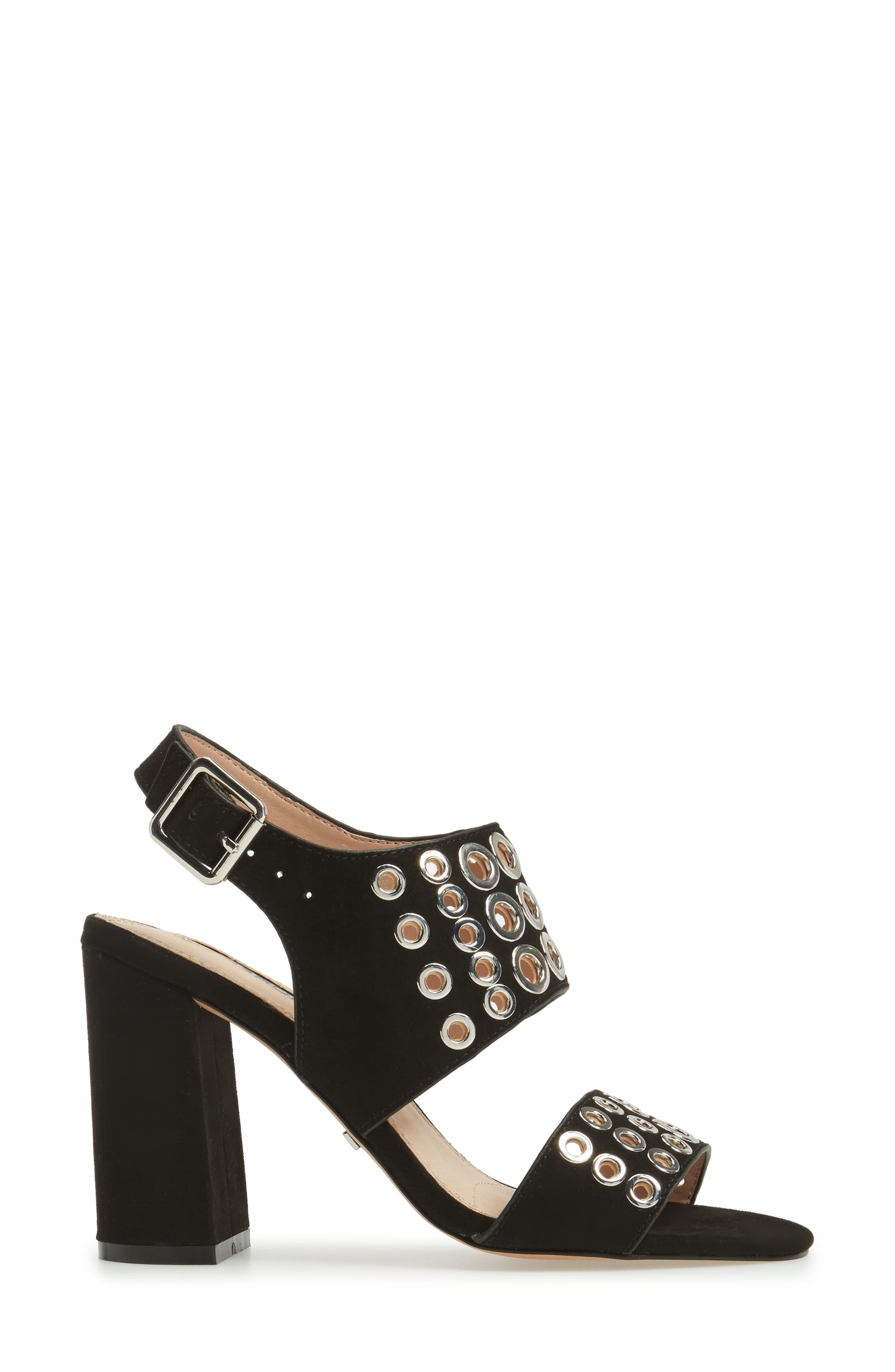 Nadia Rivet Block Heel Sandal,                             Alternate thumbnail 3, color,                             001