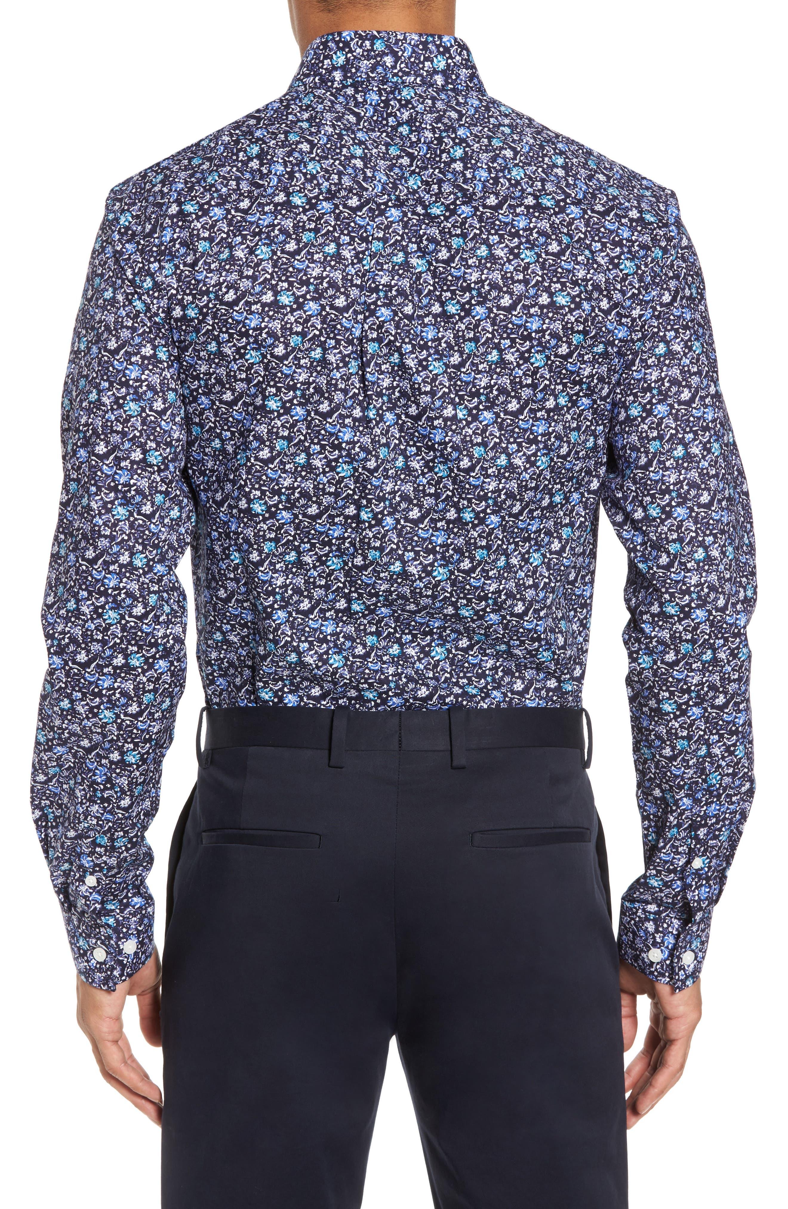 Trim Fit Floral Dress Shirt,                             Alternate thumbnail 2, color,                             NAVY