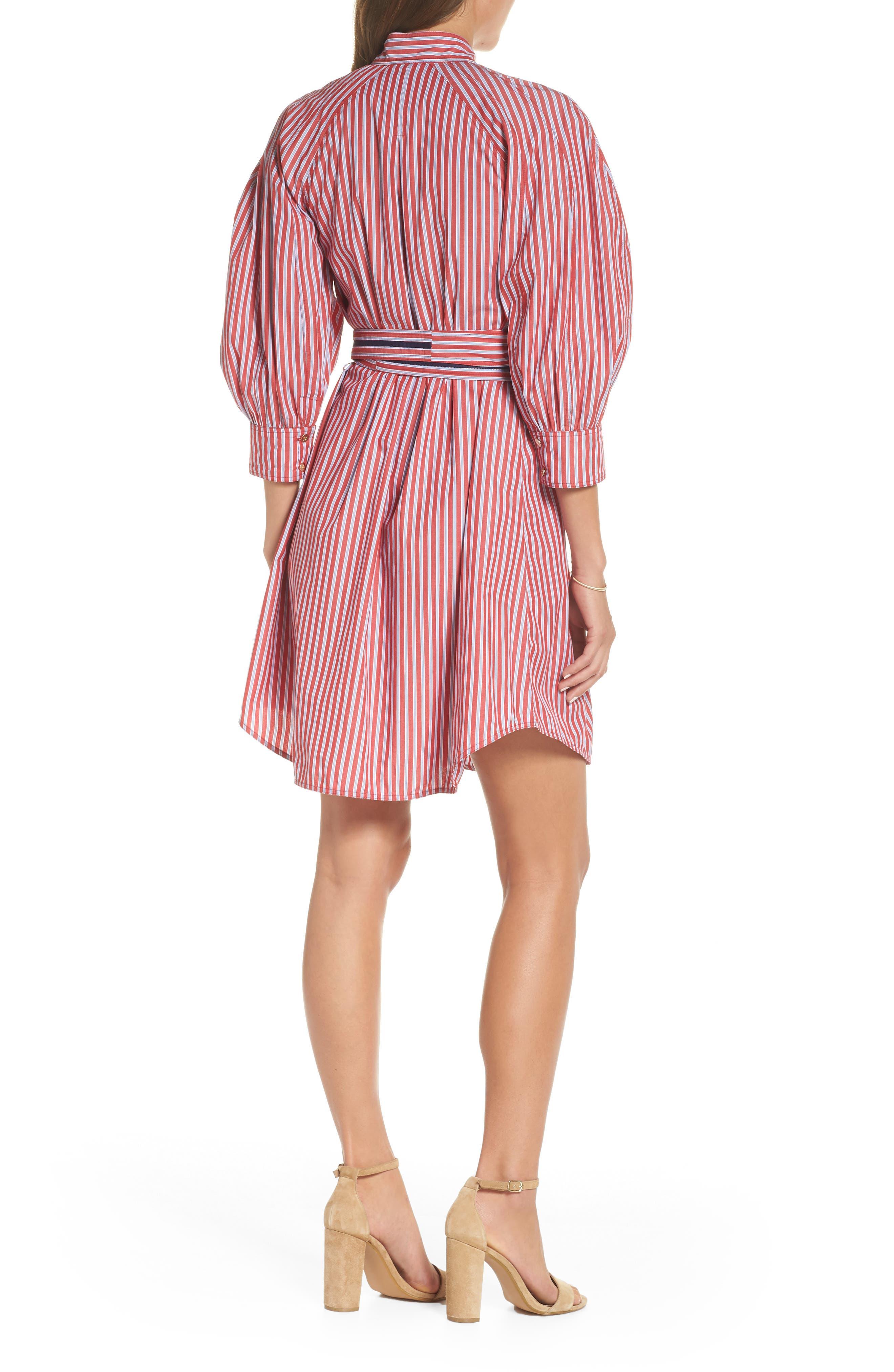 Stripe Tie Waist Shirtdress,                             Alternate thumbnail 2, color,                             600