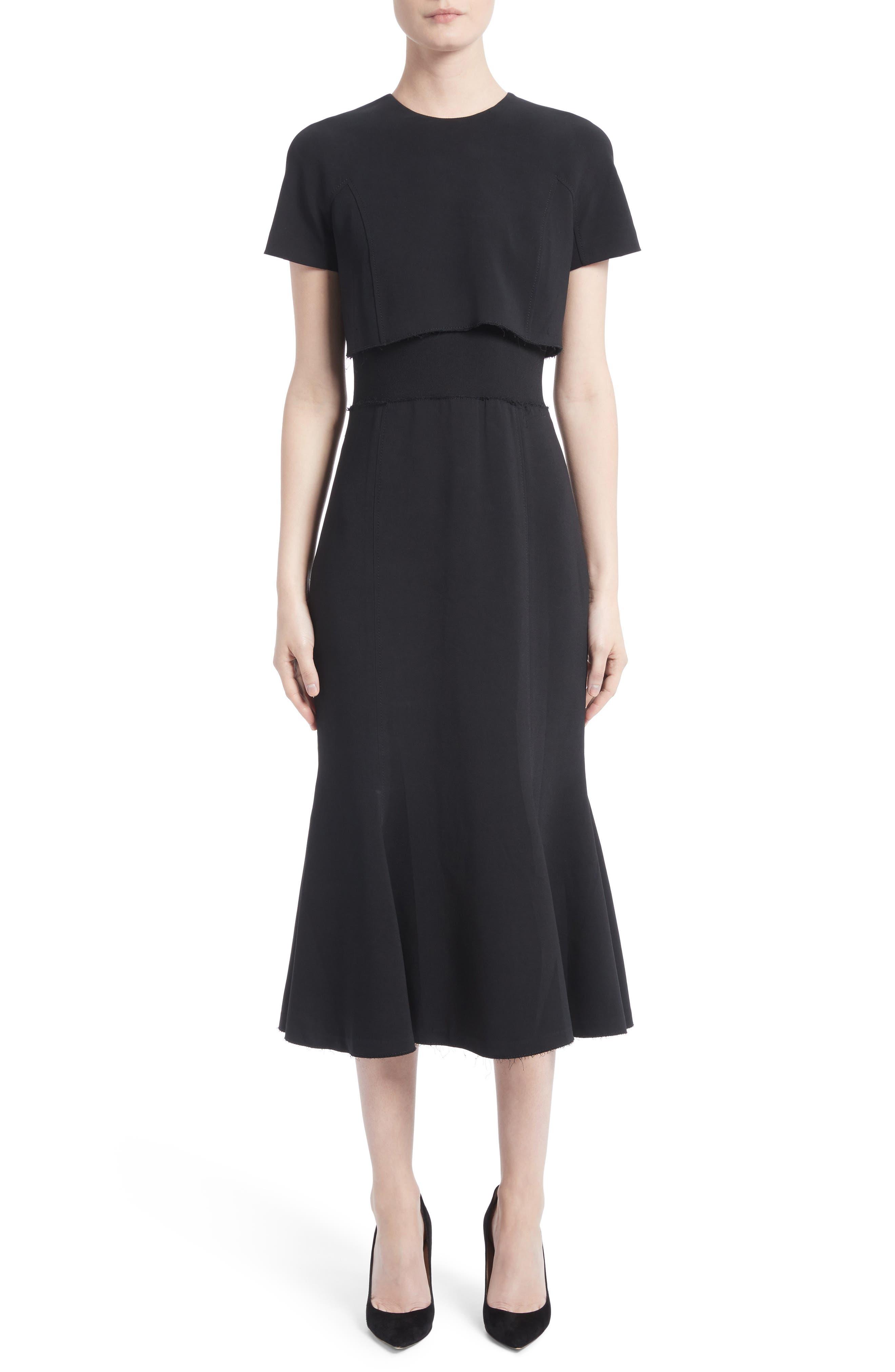 Raw Hem Panel Cady Dress,                             Main thumbnail 1, color,                             001