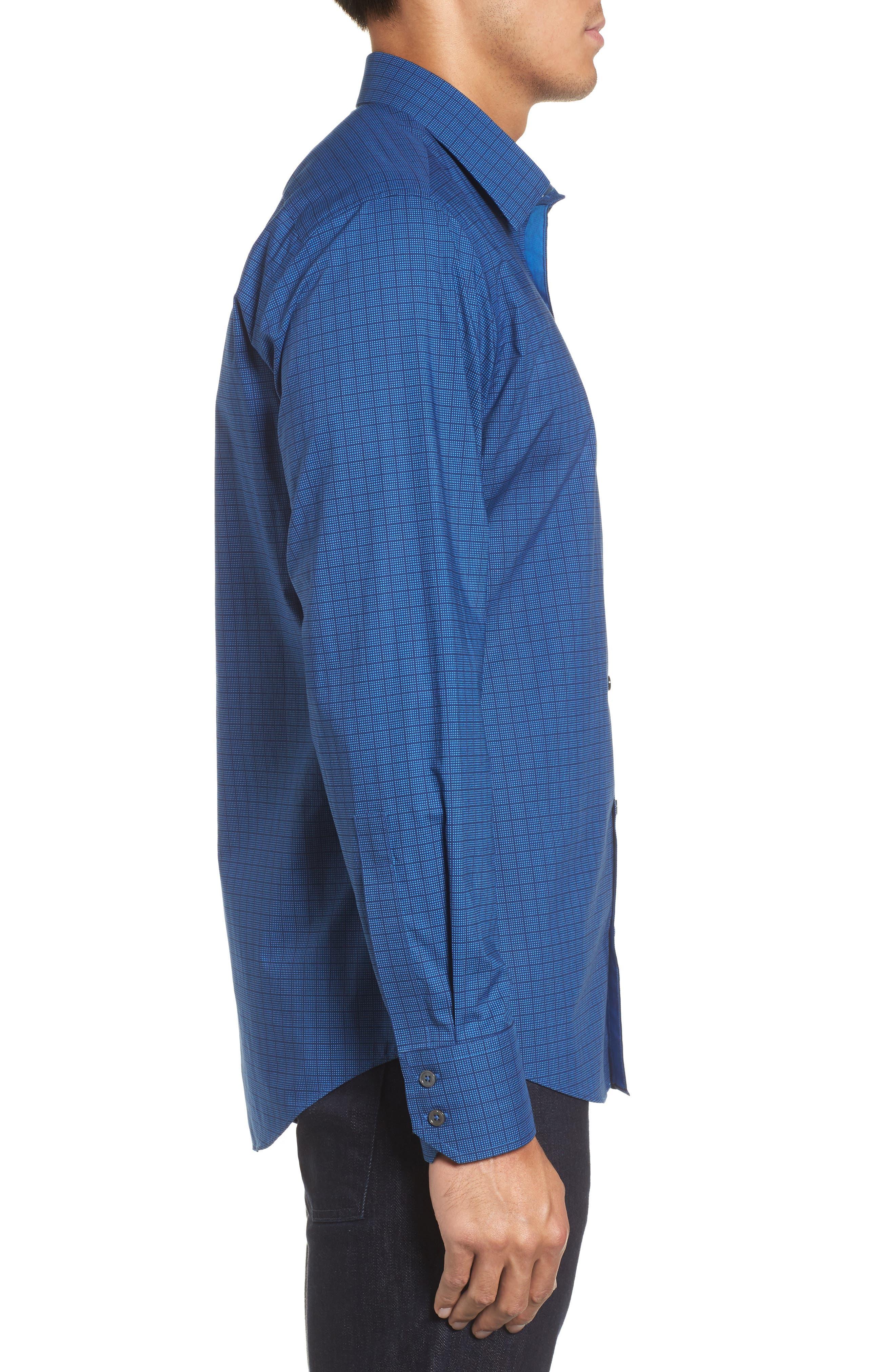 Harper Regular Fit Tile Print Sport Shirt,                             Alternate thumbnail 3, color,                             NAVY