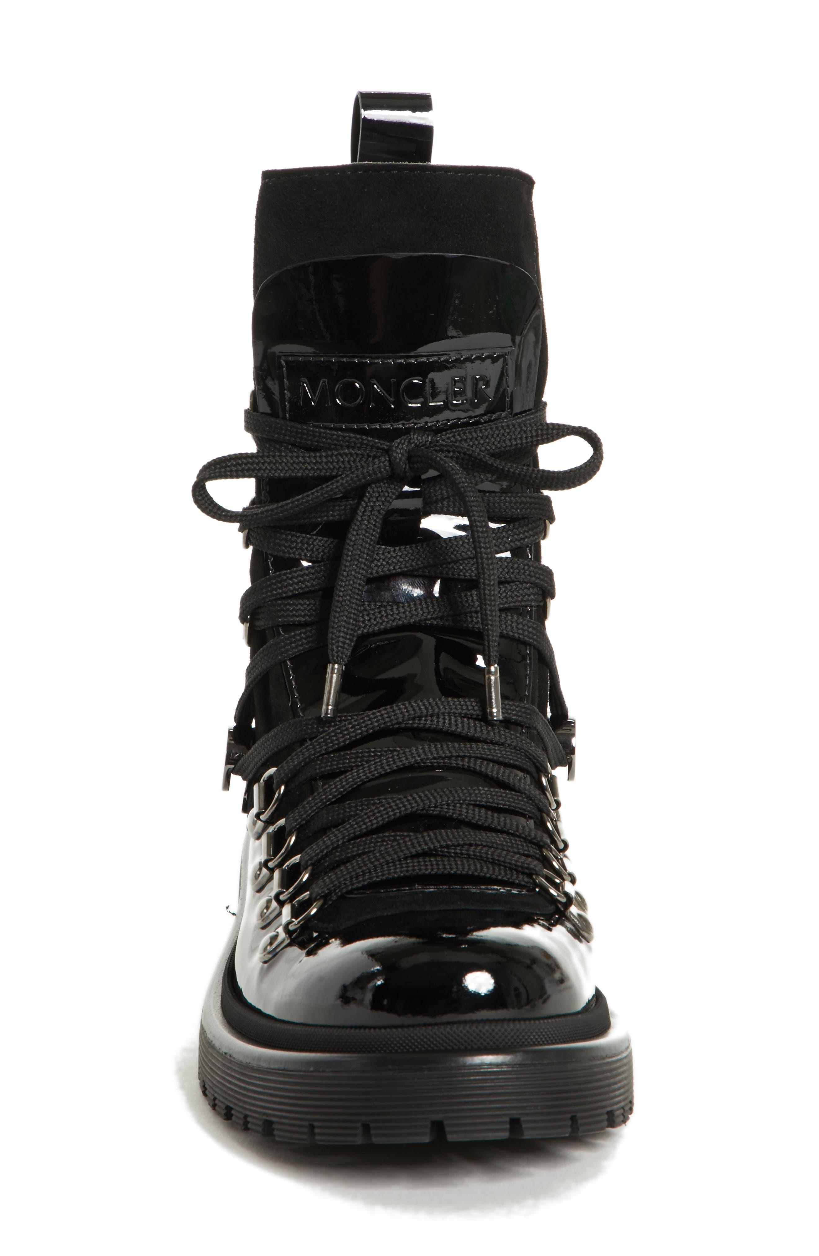 MONCLER,                             Berenice Stivale Lace-Up Boot,                             Alternate thumbnail 4, color,                             BLACK PATENT