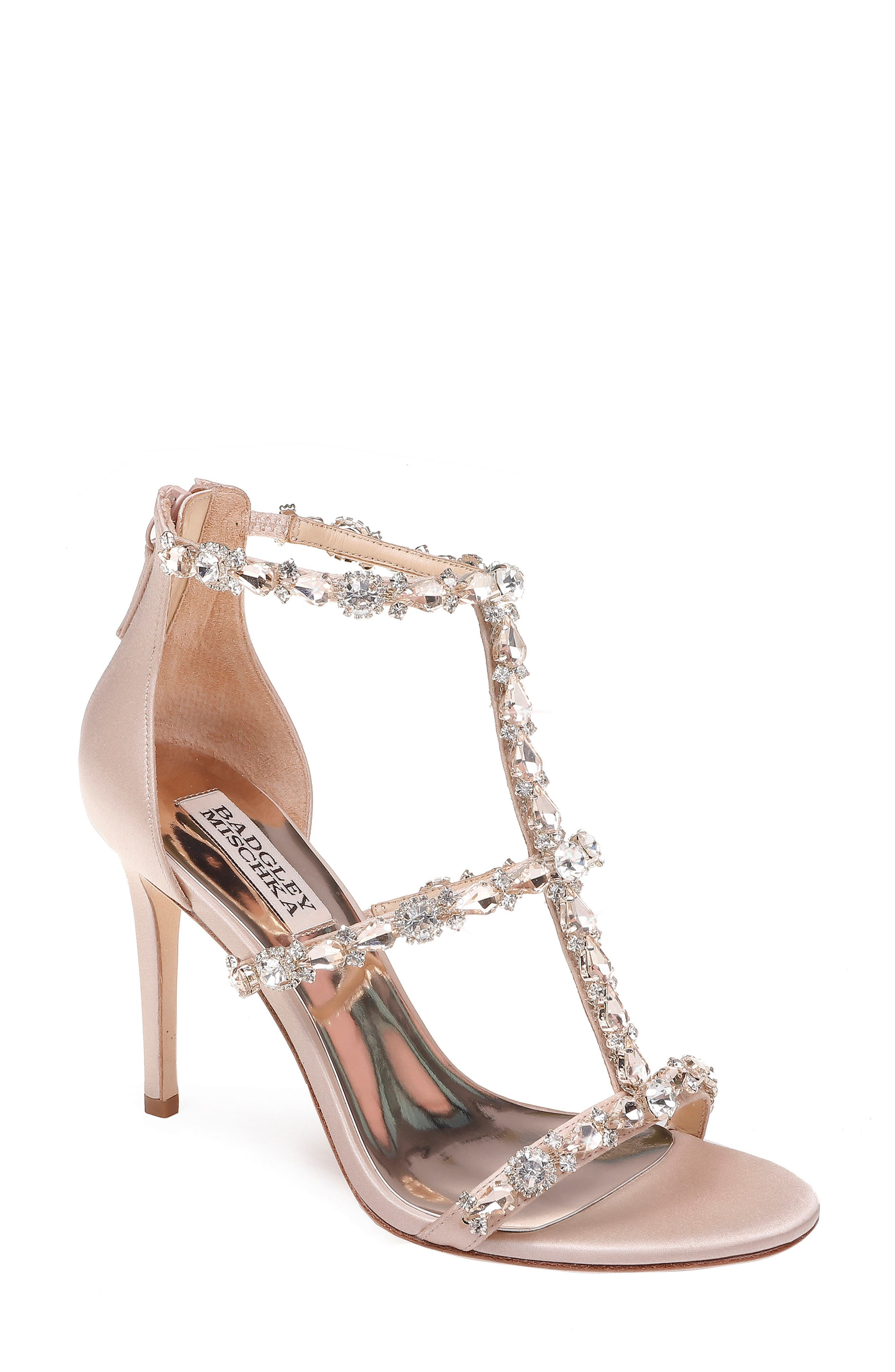 BADGLEY MISCHKA COLLECTION,                             Badgley Mischka Querida Embellished Sandal,                             Main thumbnail 1, color,                             LATTE SATIN
