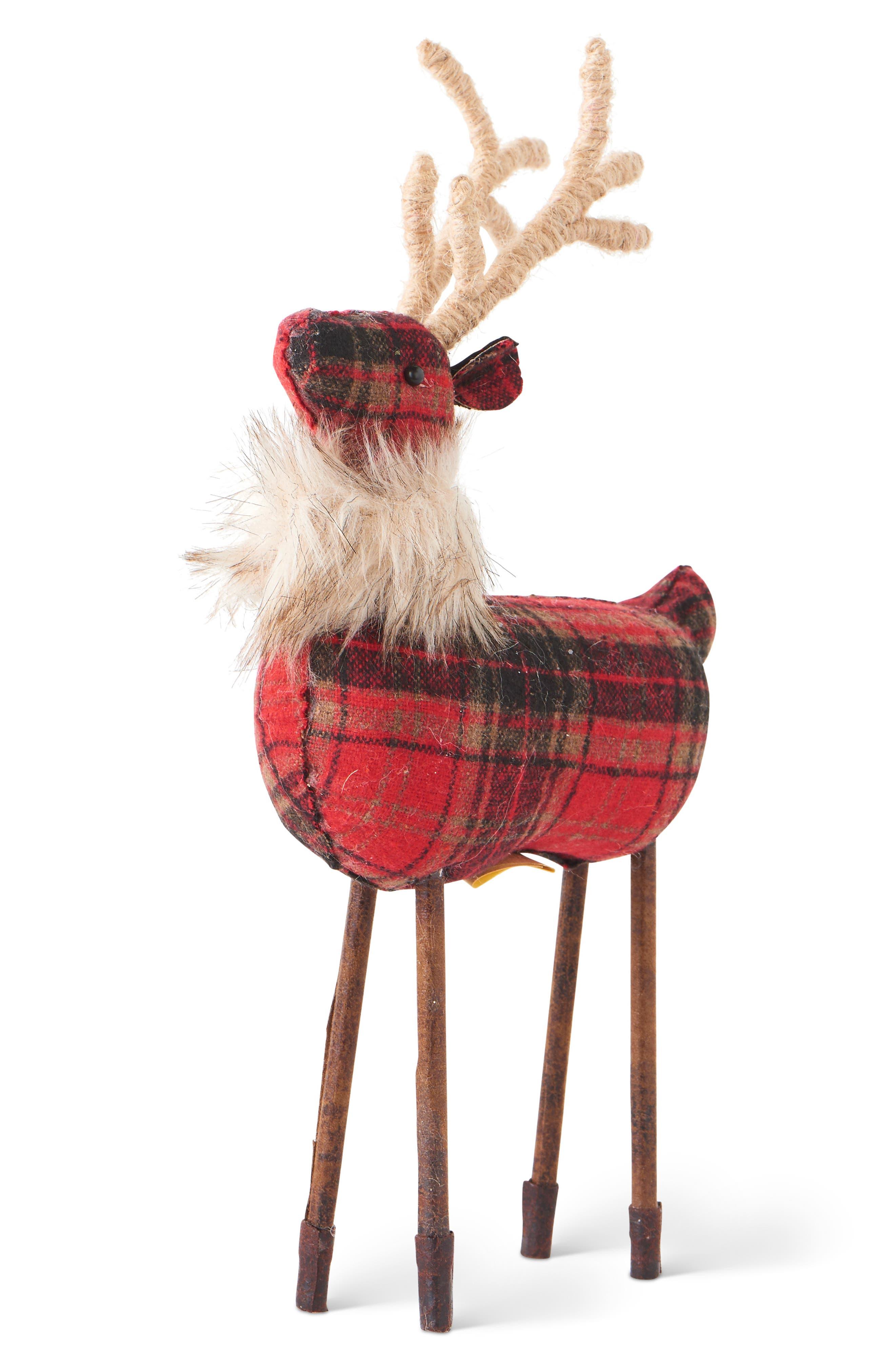 Plaid Reindeer,                         Main,                         color, RED