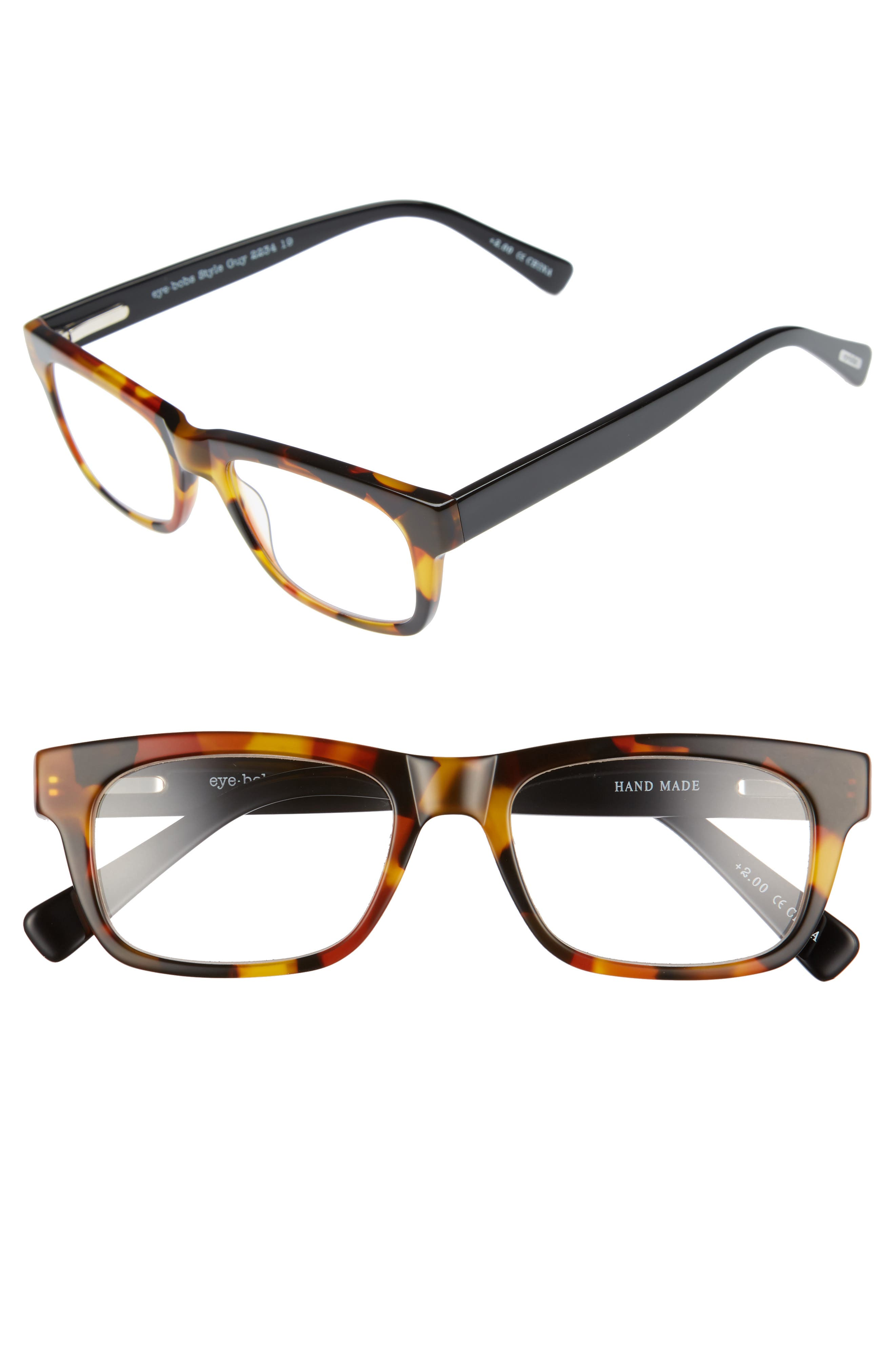 Style Guy 52mm Reading Glasses,                             Main thumbnail 1, color,                             TORTOISE WITH BLACK