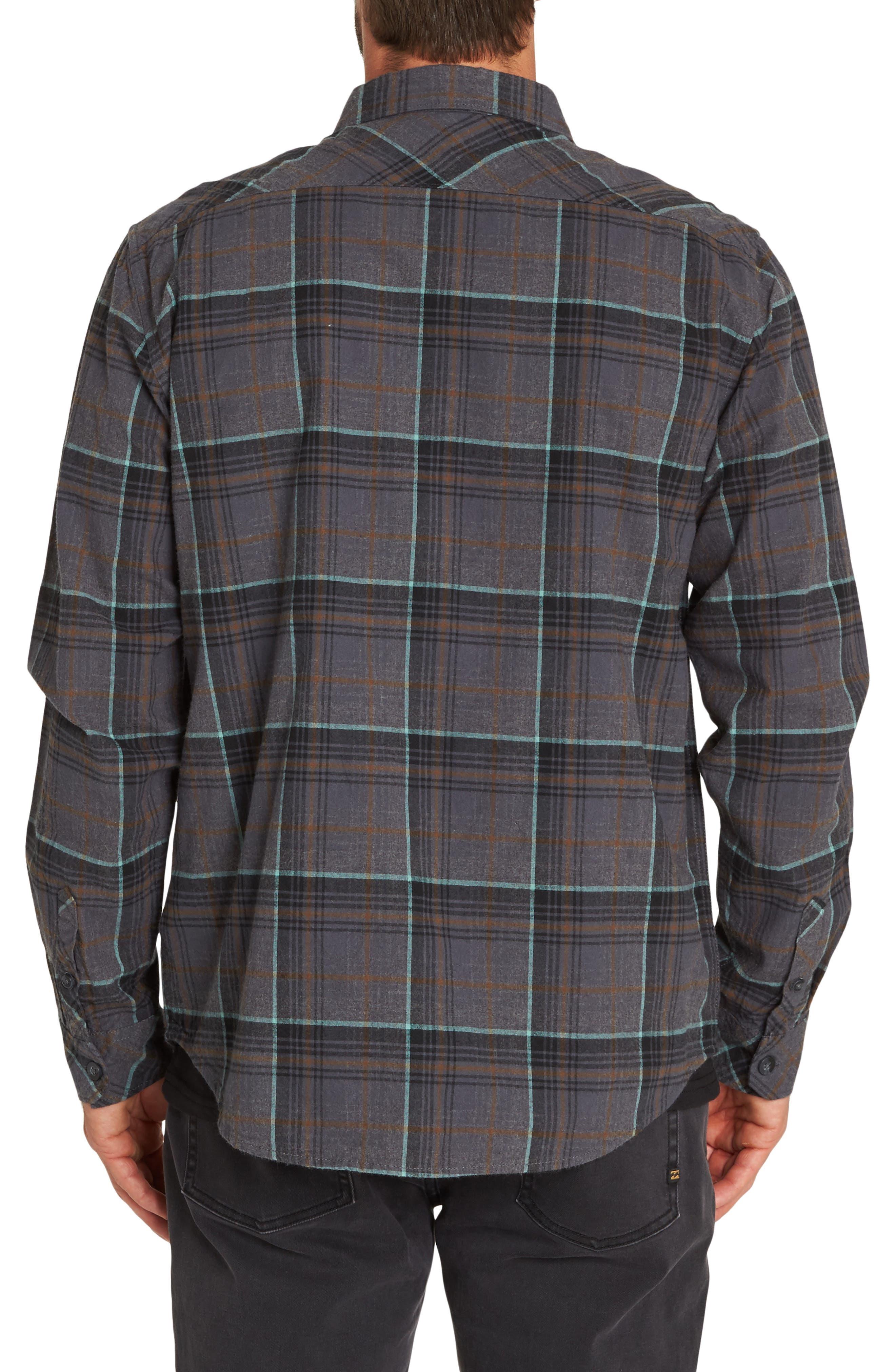 Coastline Plaid Flannel Shirt,                             Alternate thumbnail 2, color,                             BLACK