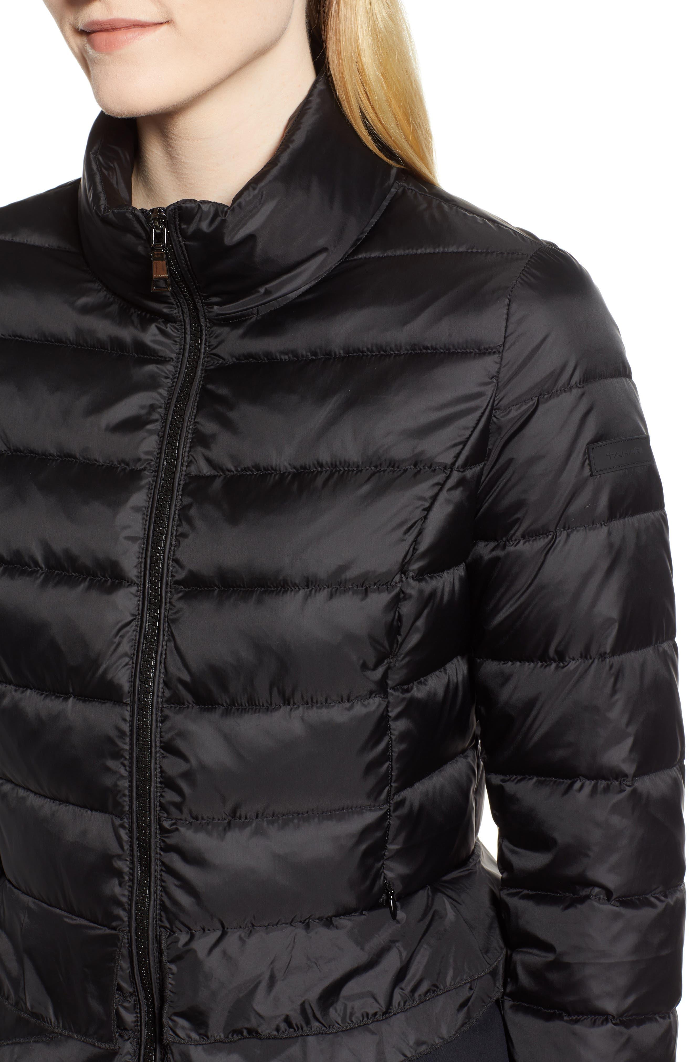 Zoey Ruffle Hem Puffer Jacket,                             Alternate thumbnail 4, color,                             BLACK
