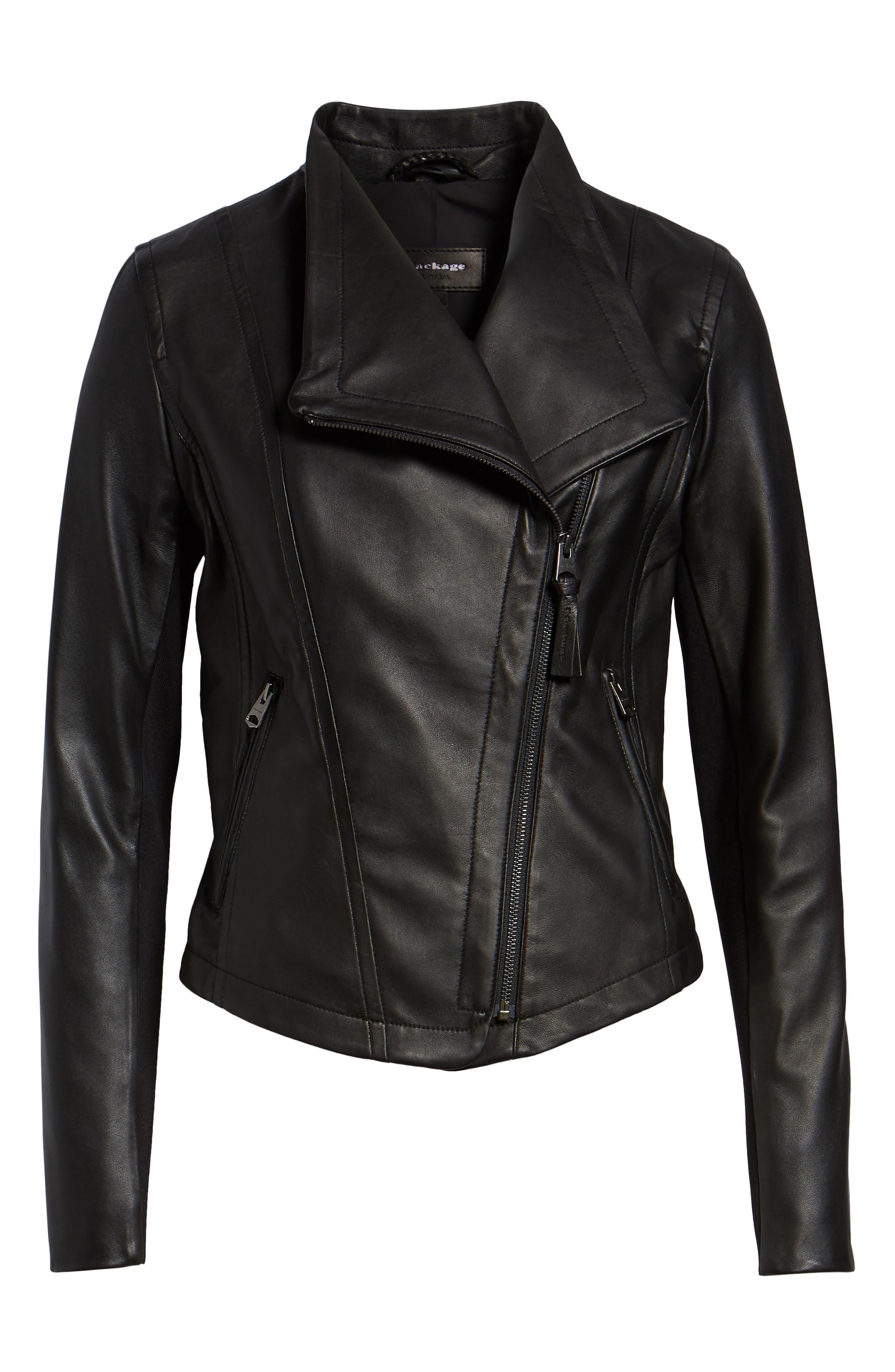MACKAGE,                             Pina-L Leather Moto Jacket,                             Alternate thumbnail 5, color,                             001