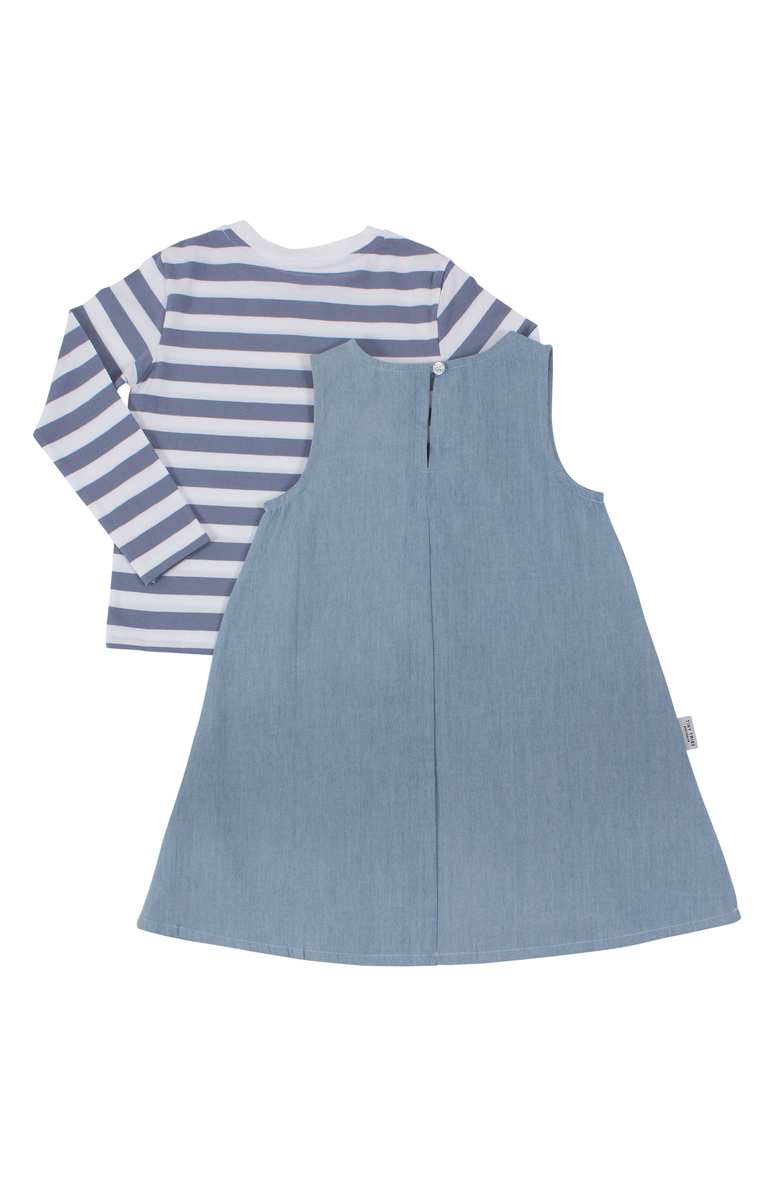 Girls of Awesome Tee & Dress Set,                             Alternate thumbnail 2, color,                             BLUE / CHAMBRAY