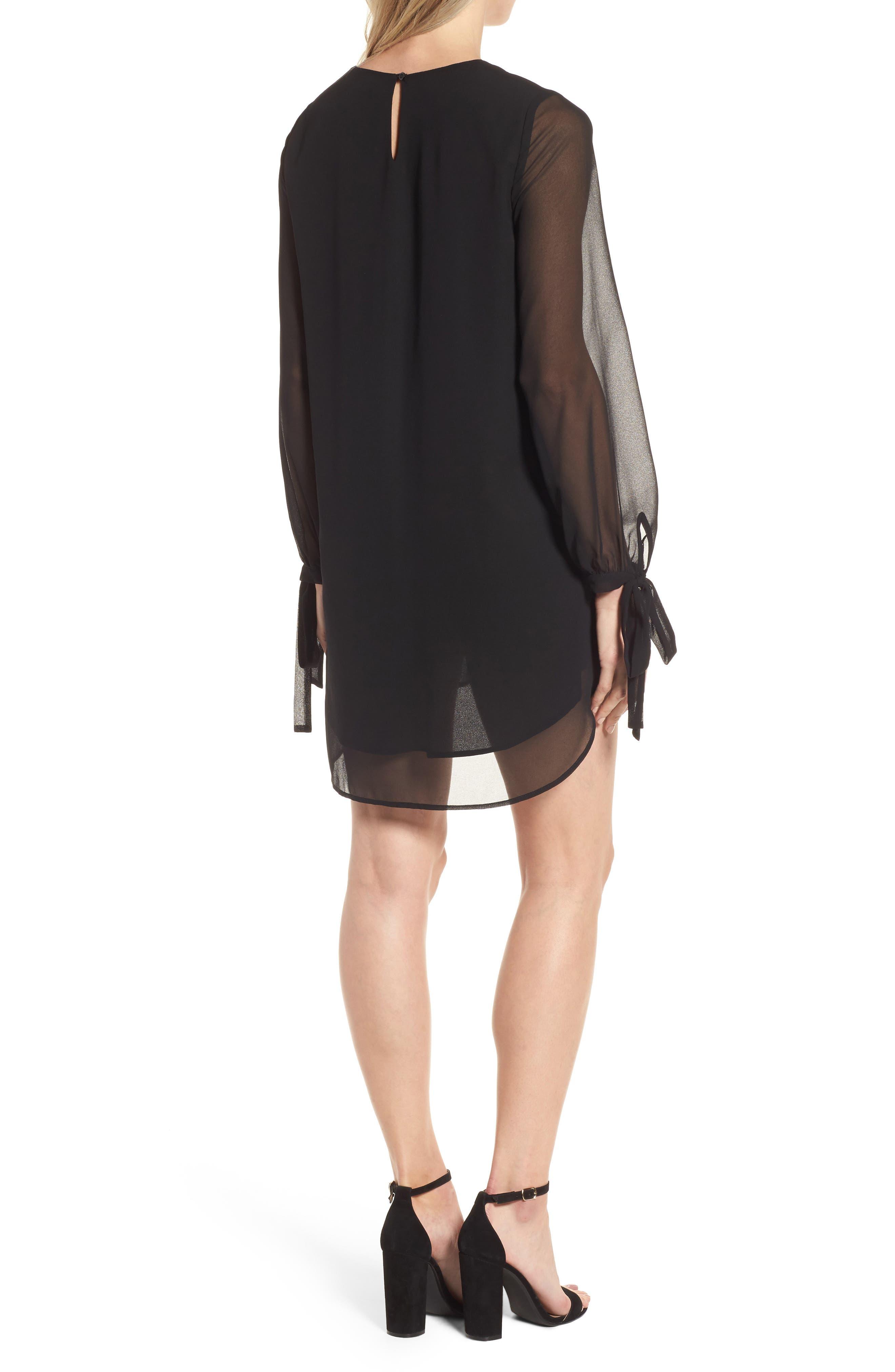 Tie-Sleeve Shift Dress,                             Alternate thumbnail 2, color,                             001