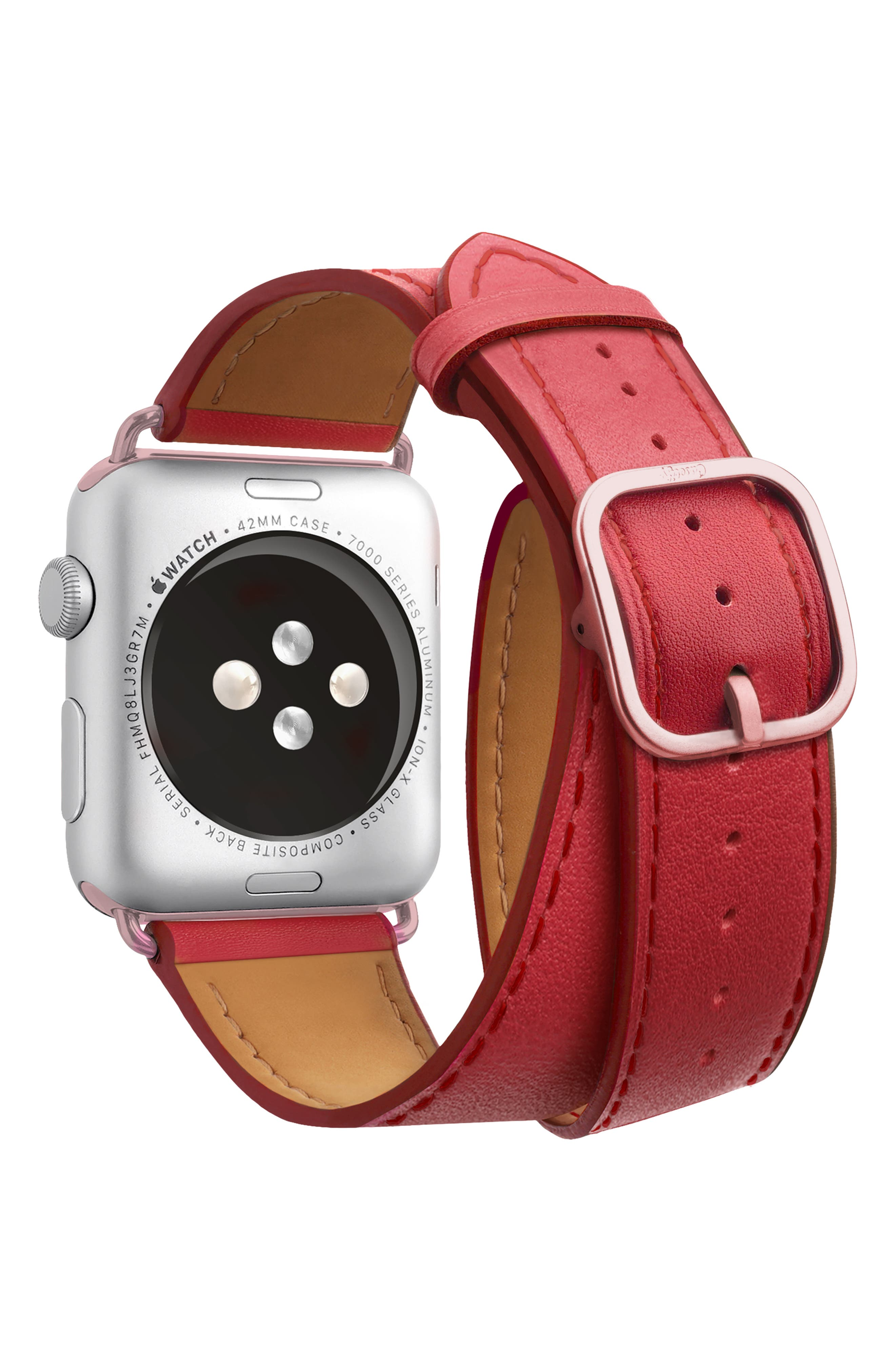 Double Tour Leather Apple Watch Strap,                             Alternate thumbnail 2, color,                             RED