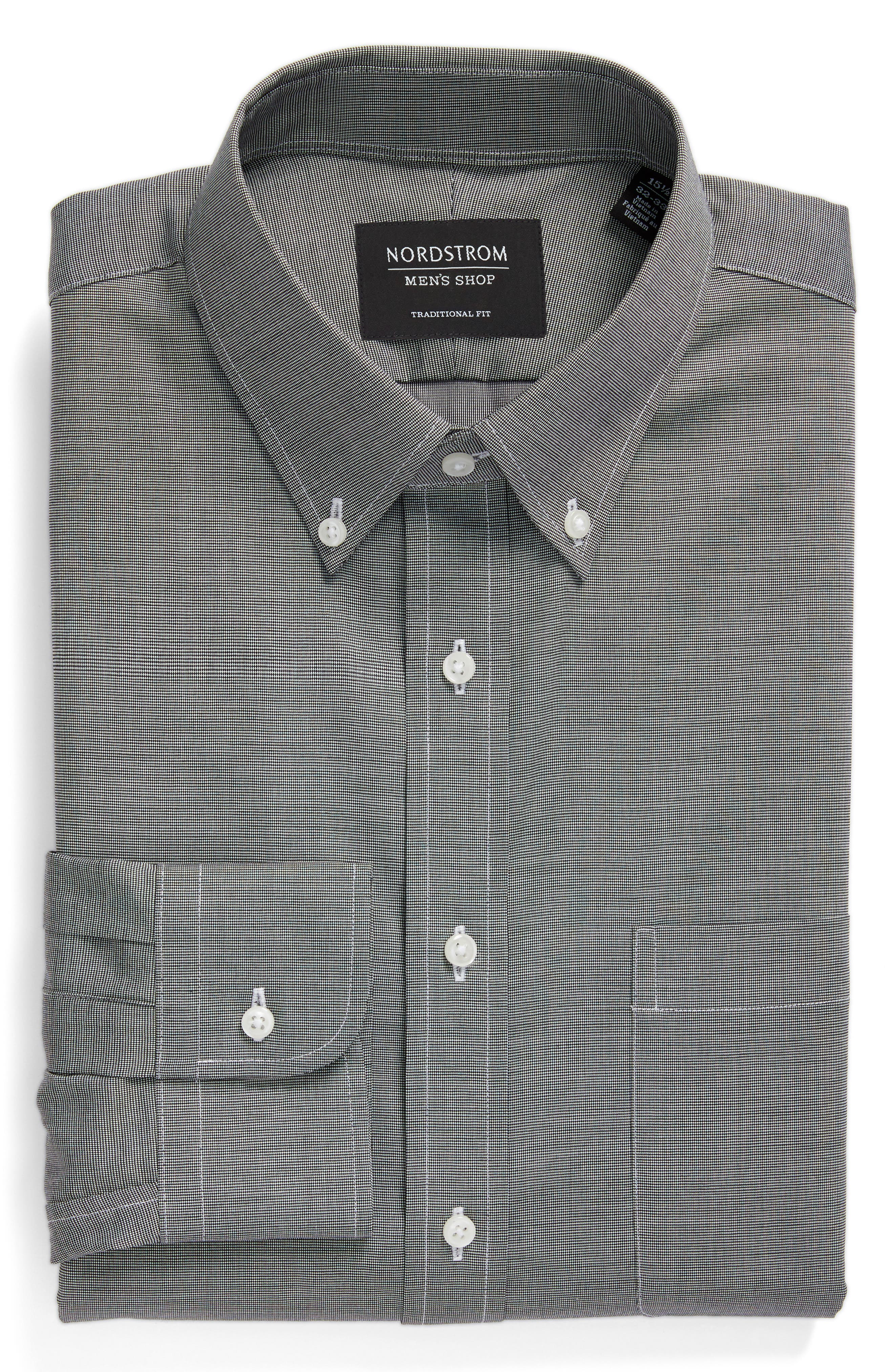 Traditional Fit Non-Iron Solid Dress Shirt,                             Alternate thumbnail 6, color,                             BLACK ROCK