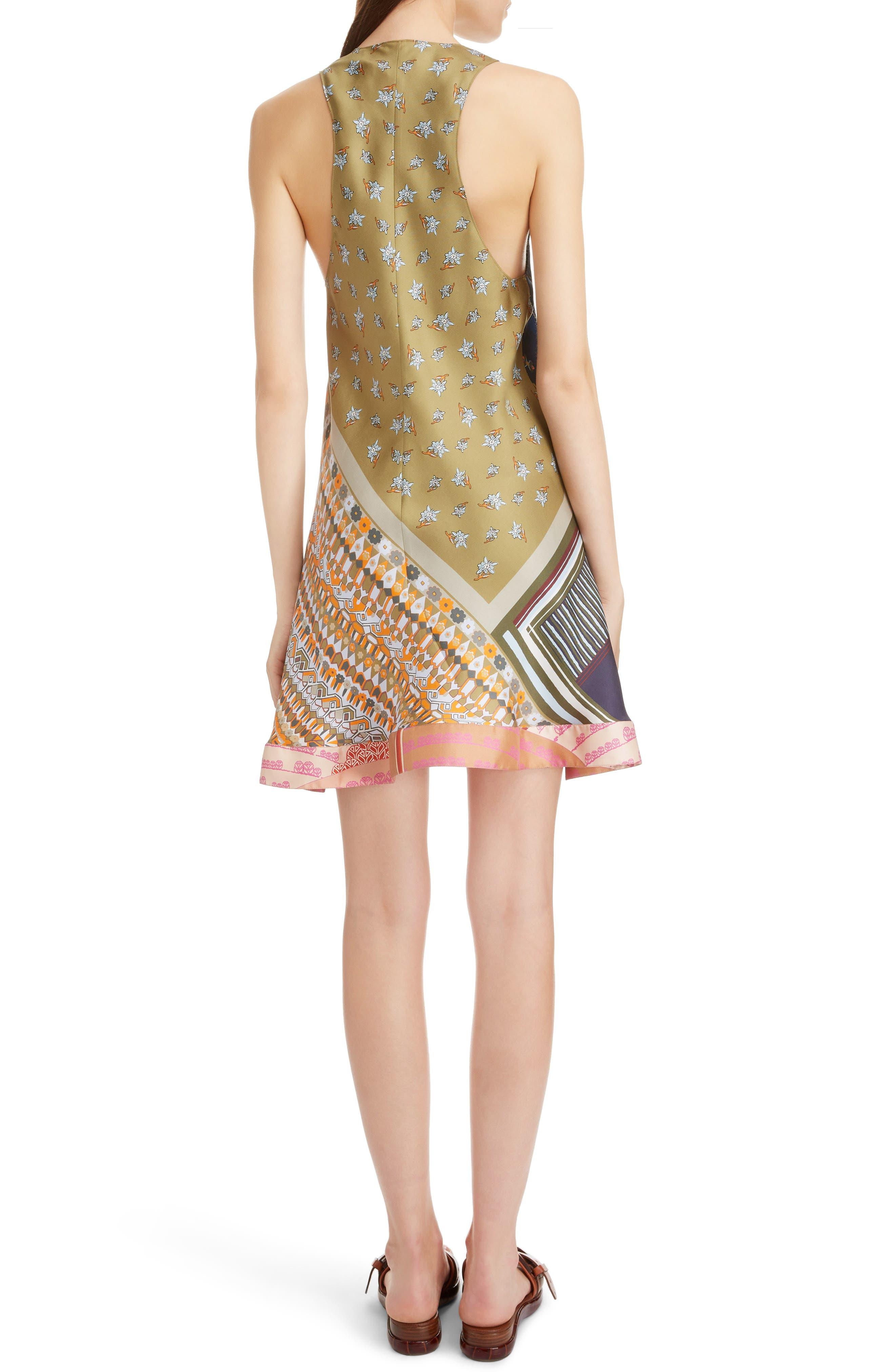 CHLOÉ,                             Caravan Print Silk Racerback Dress,                             Alternate thumbnail 2, color,                             MULTICOLOR BLUE