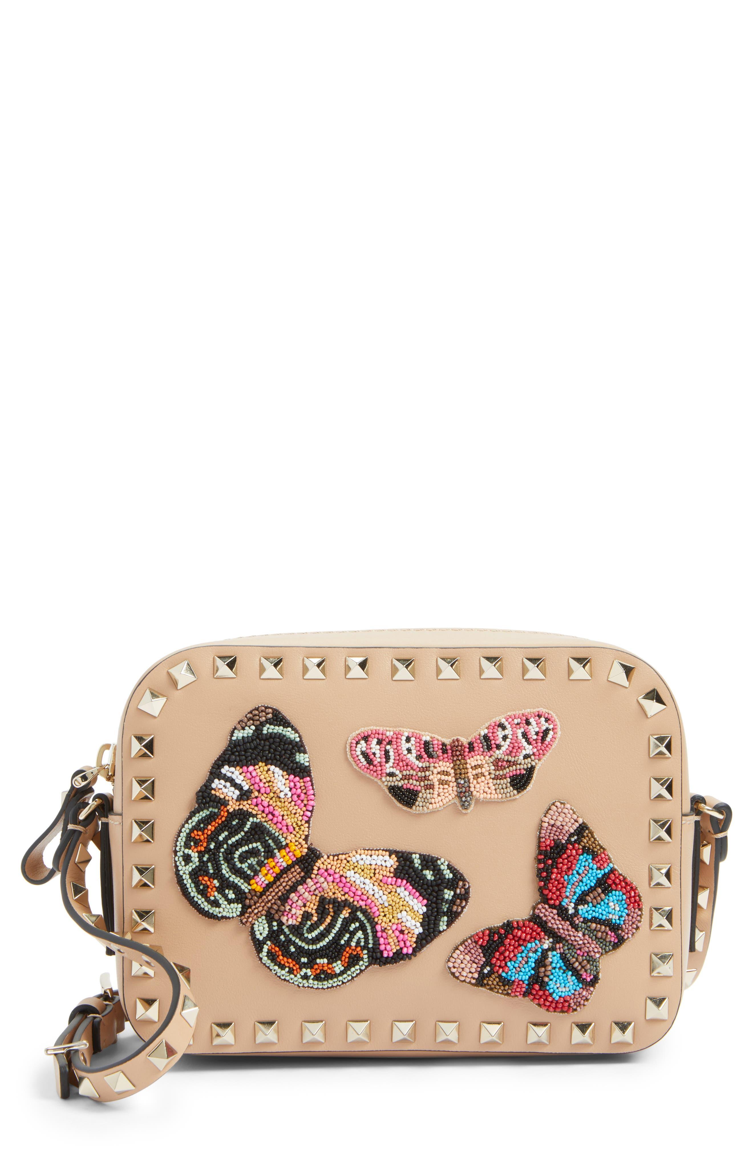 Rockstud Beaded Butterfly Leather Camera Crossbody Bag,                             Main thumbnail 1, color,                             244